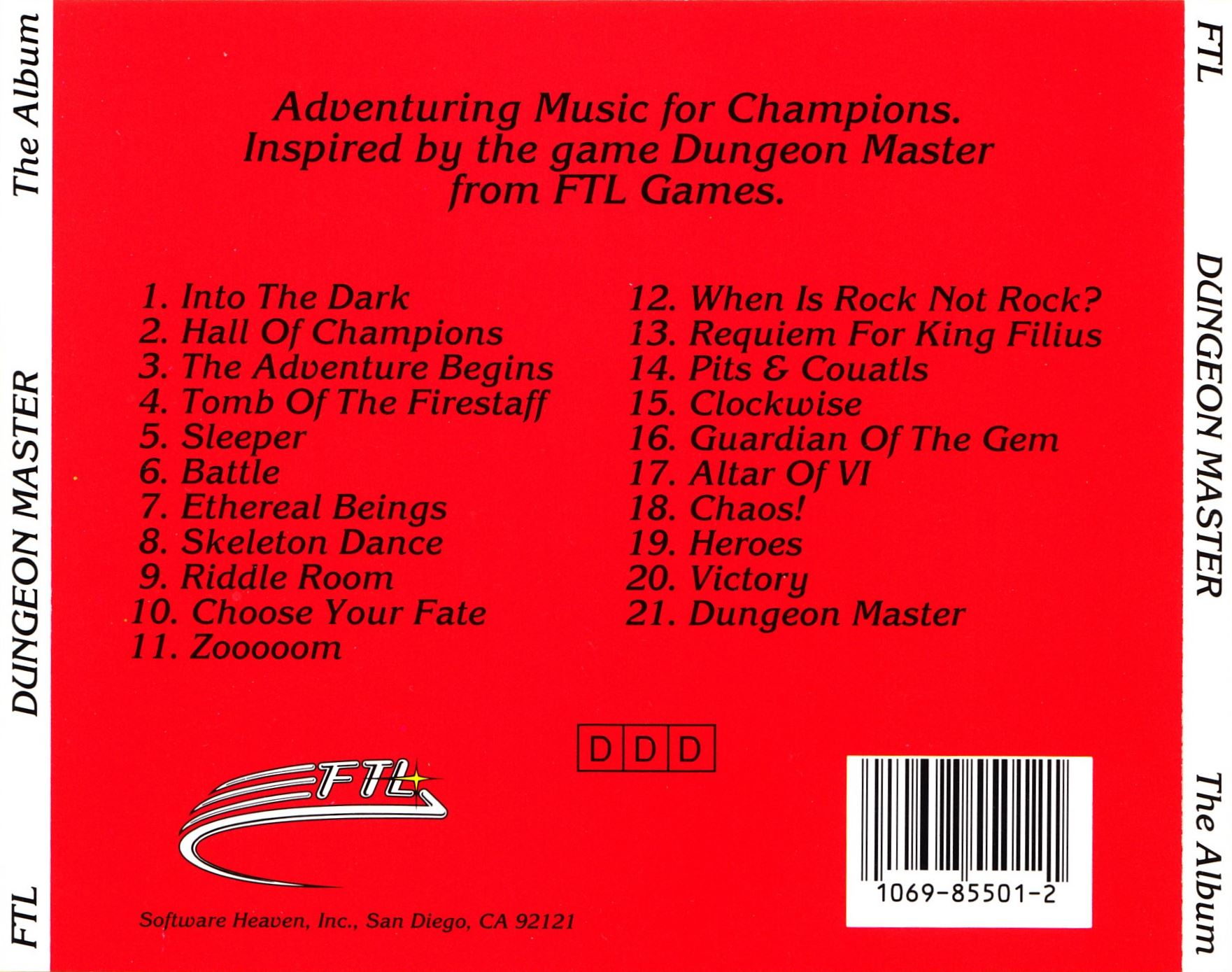 Audio CD - Dungeon Master The Album - US - Back Card - Front - Scan