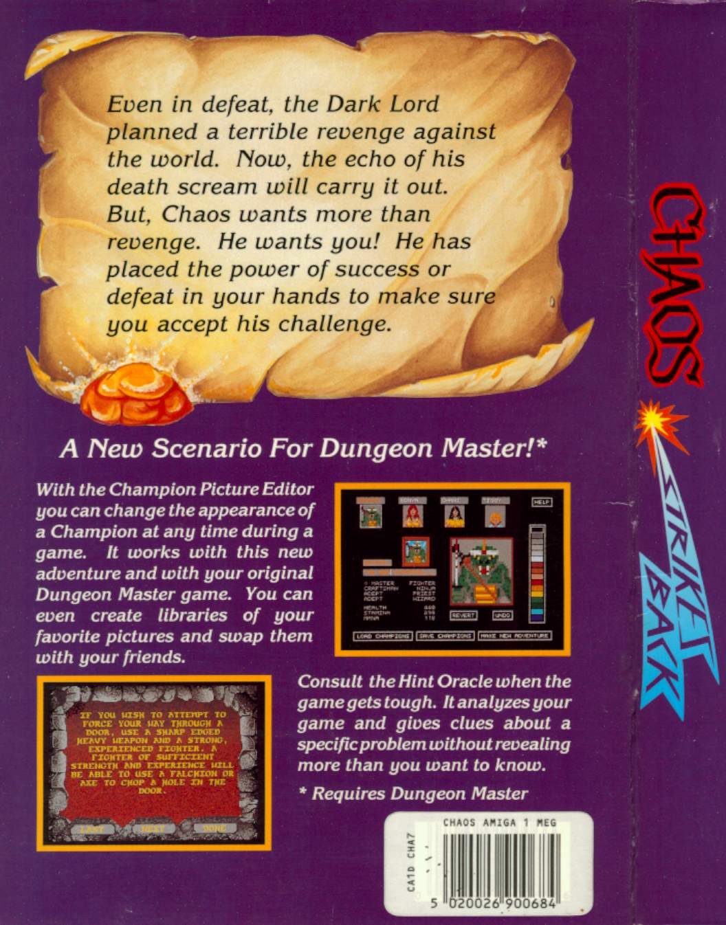 Chaos Strikes Back for Amiga - Box Back and Side