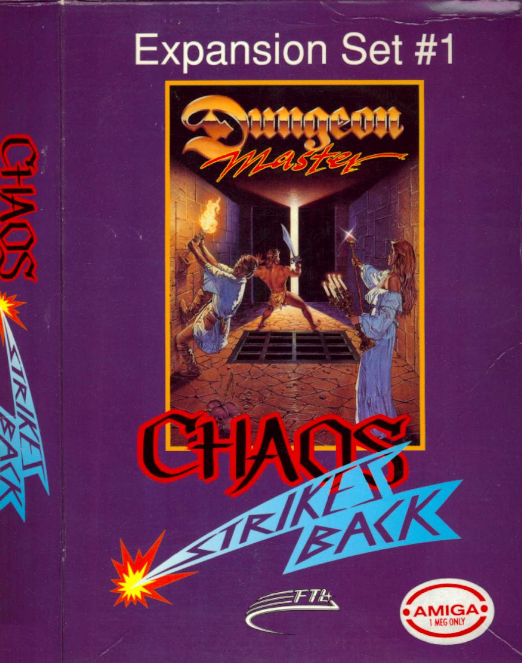 Chaos Strikes Back for Amiga - Box Front and Side