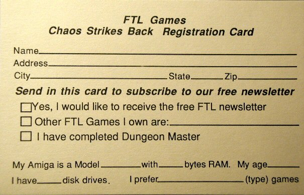 Chaos Strikes Back for Amiga - Registration Card