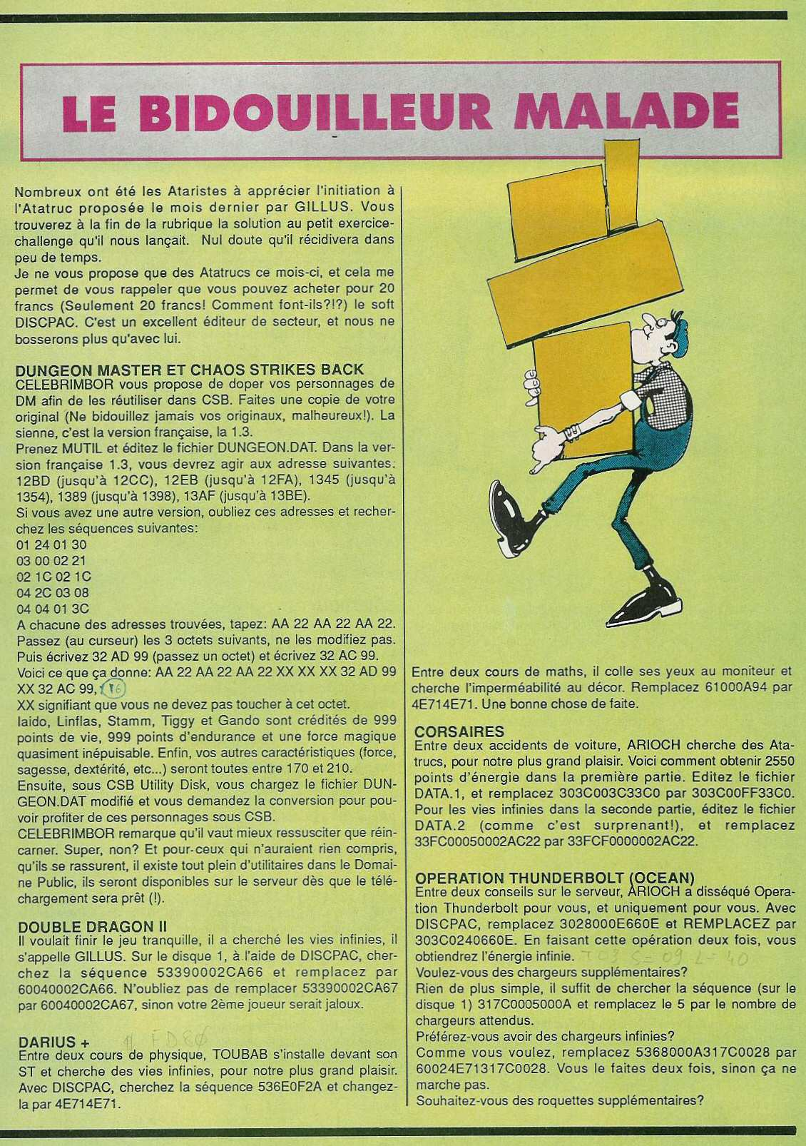 Chaos Strikes Back for Atari ST Cheat published in French magazine 'Gen4', Issue #20, March 1990, Page 81