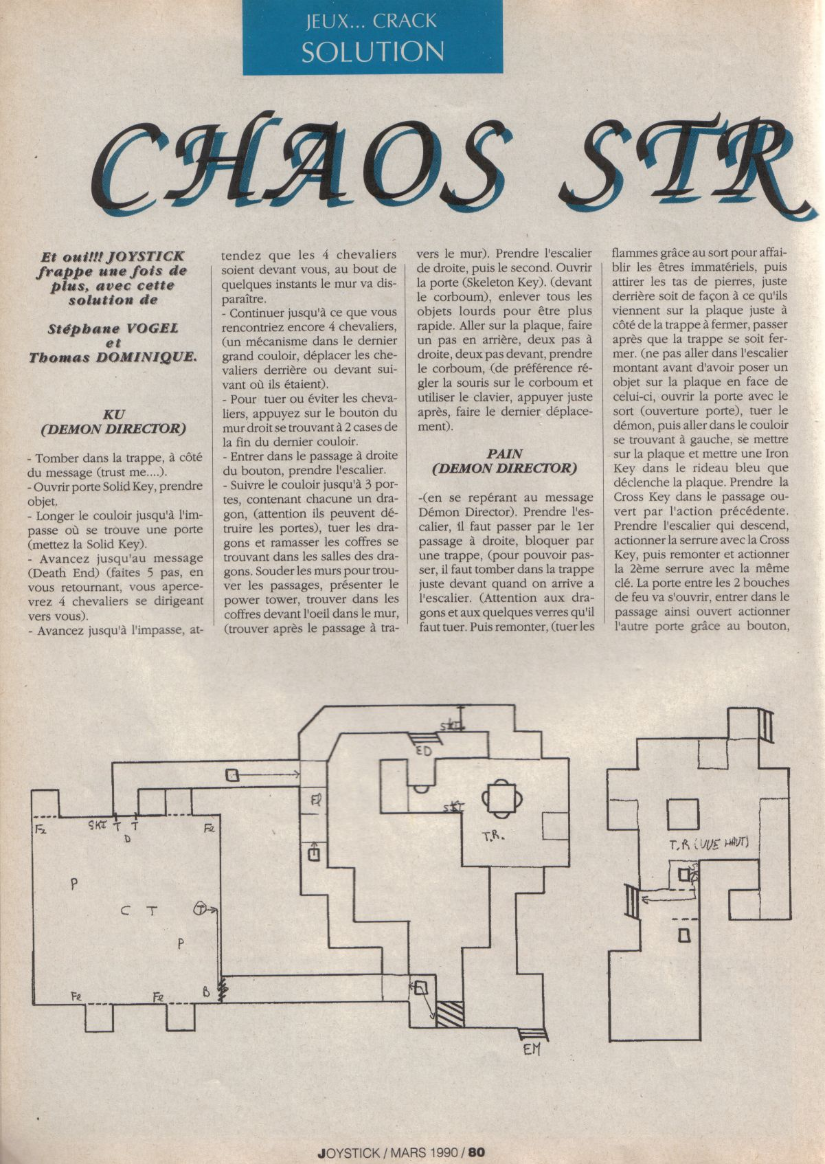 Chaos Strikes Back for Atari ST Guide published in French magazine &amp;#039;Joystick&amp;#039;, Issue #3, March 1990, Page 80
