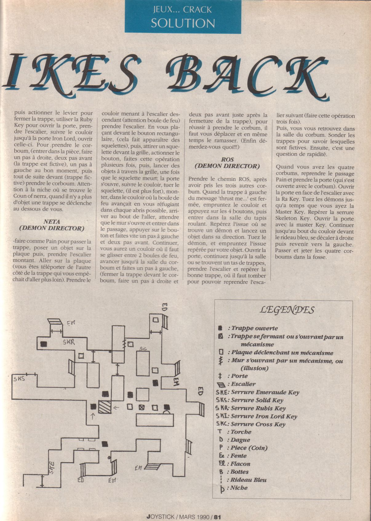 Chaos Strikes Back for Atari ST Guide published in French magazine 'Joystick', Issue #3, March 1990, Page 81