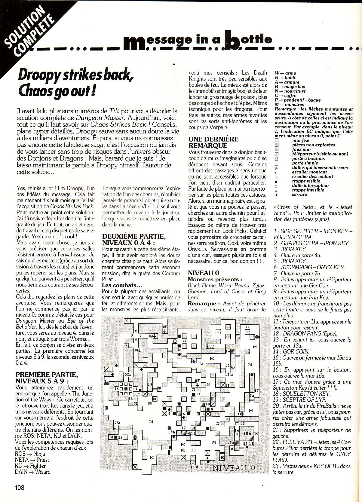 Chaos Strikes Back Guide published in French magazine 'Tilt', Issue #99, February 1992, Page 108