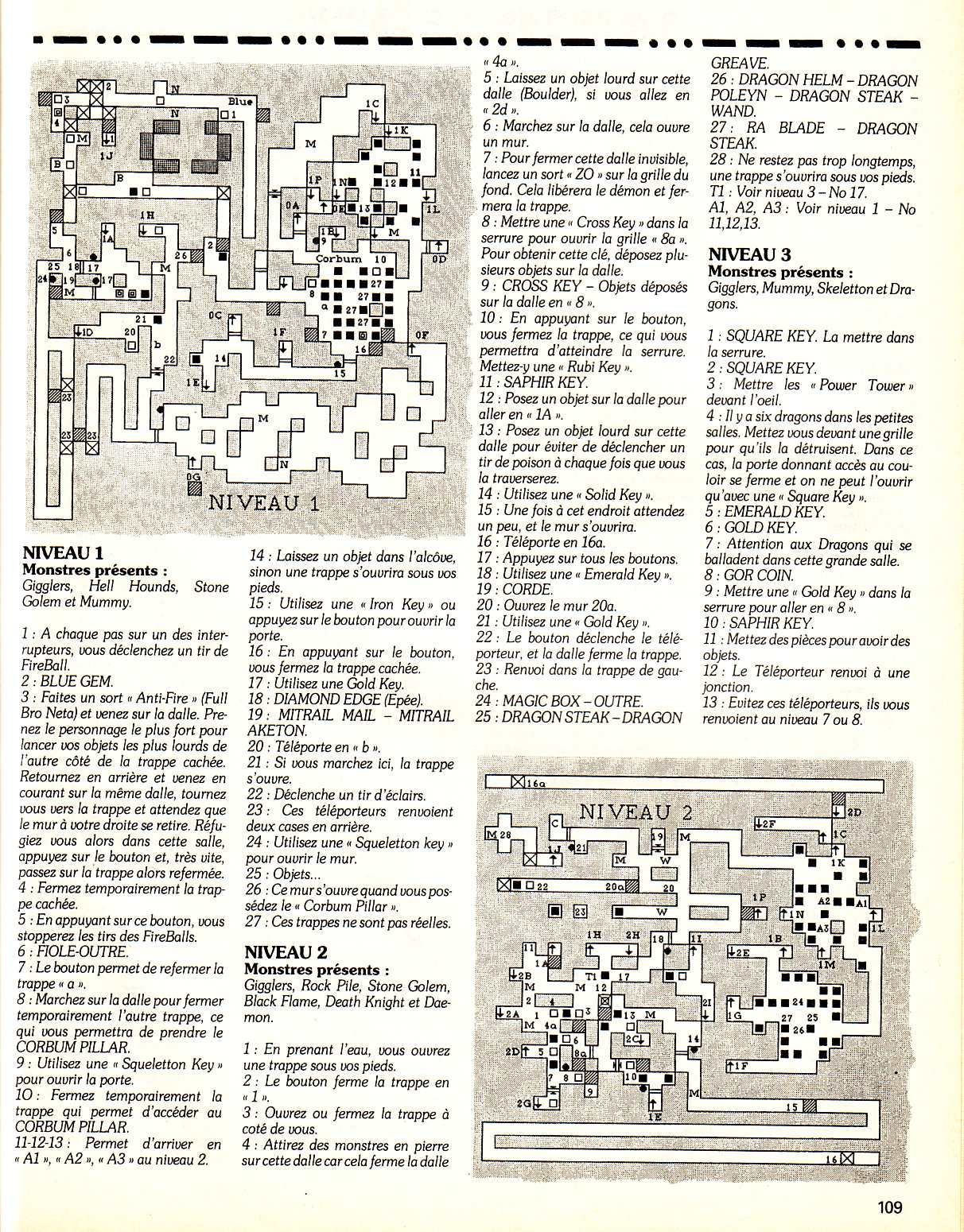 Chaos Strikes Back Guide published in French magazine 'Tilt', Issue #99, February 1992, Page 109