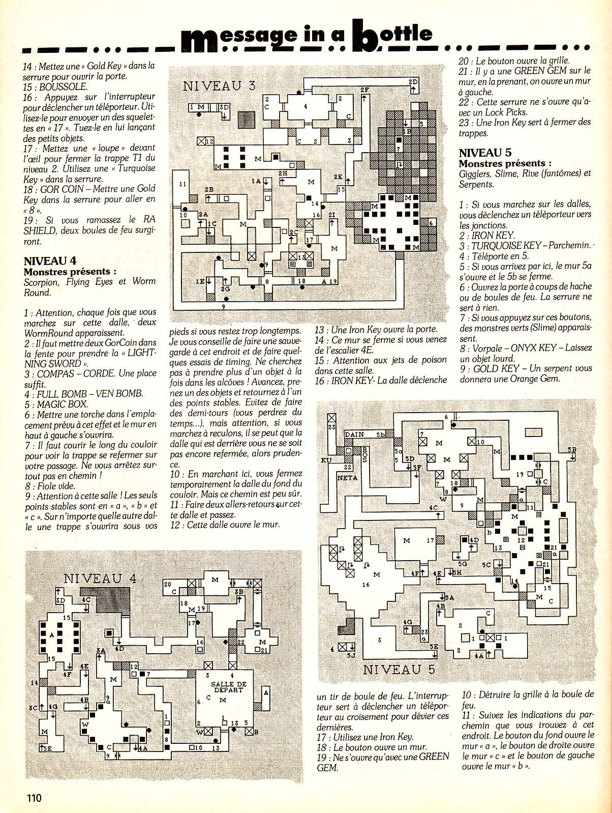 Chaos Strikes Back Guide published in French magazine 'Tilt', Issue #99, February 1992, Page 110