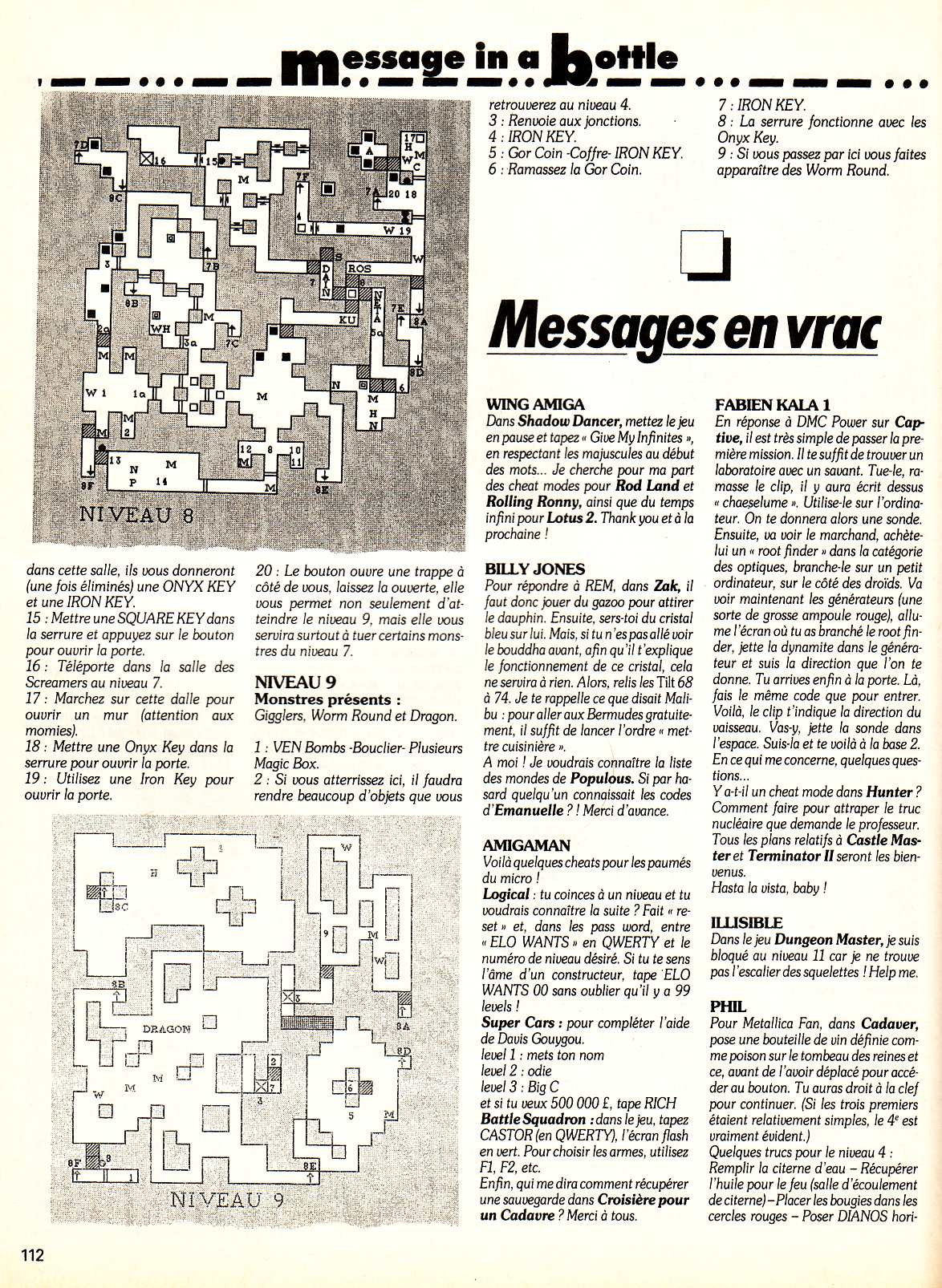 Chaos Strikes Back Guide published in French magazine 'Tilt', Issue #99, February 1992, Page 112