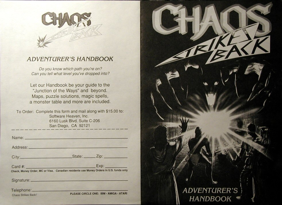 Advertisement for Chaos Strikes Back Adventurer's Handbook