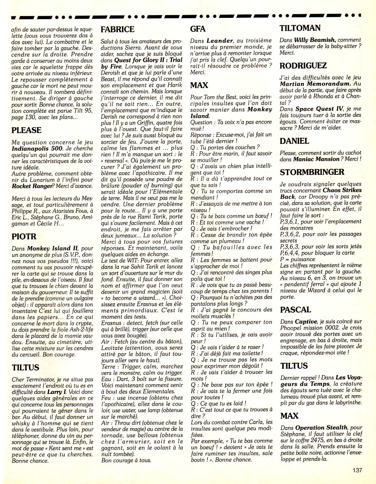 Chaos Strikes Back Hints published in French magazine 'Tilt', Issue #104, July-August 1992, Page 137