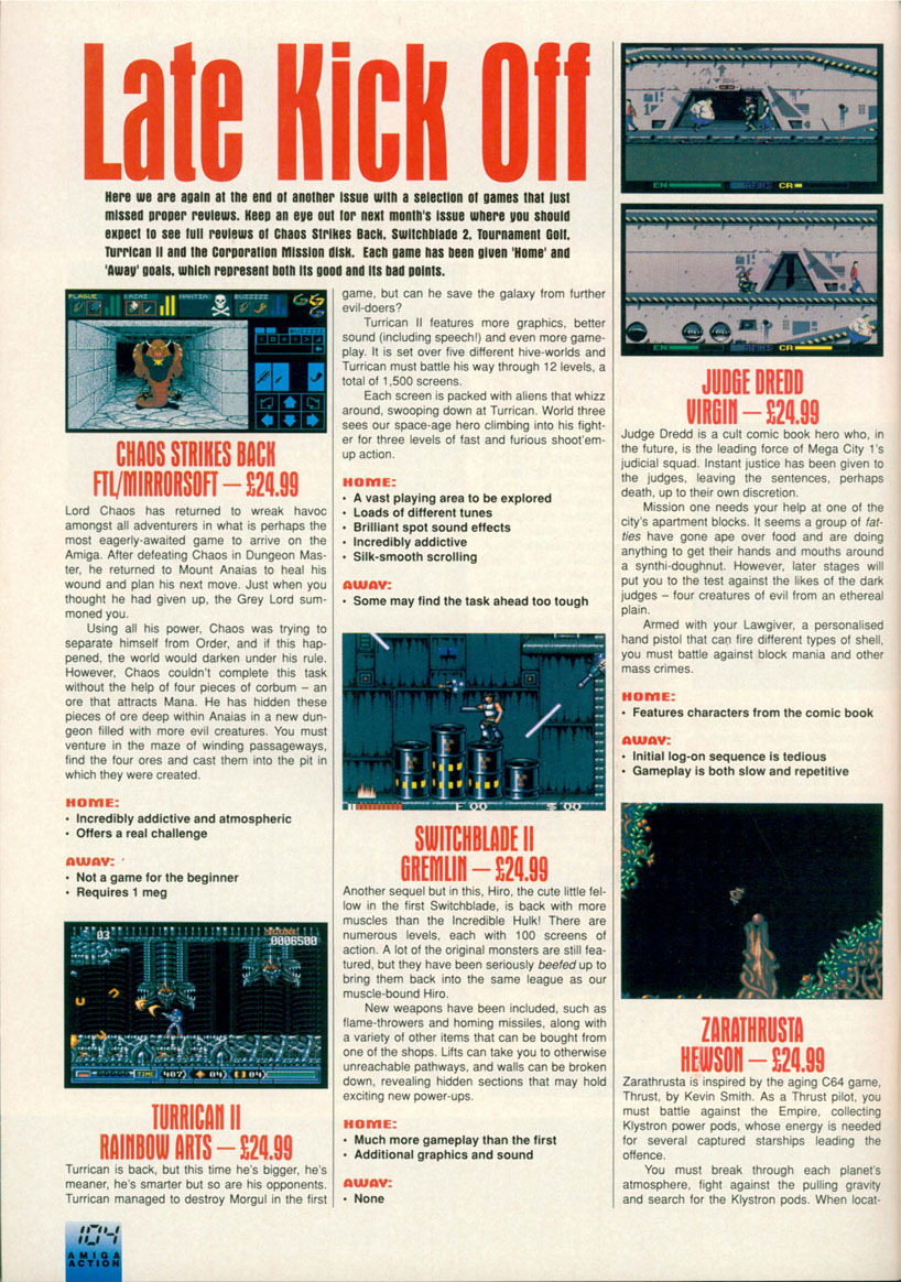 Chaos Strikes Back for Amiga Preview published in British magazine 'Amiga Action', Issue #18, March 1991, Page 104