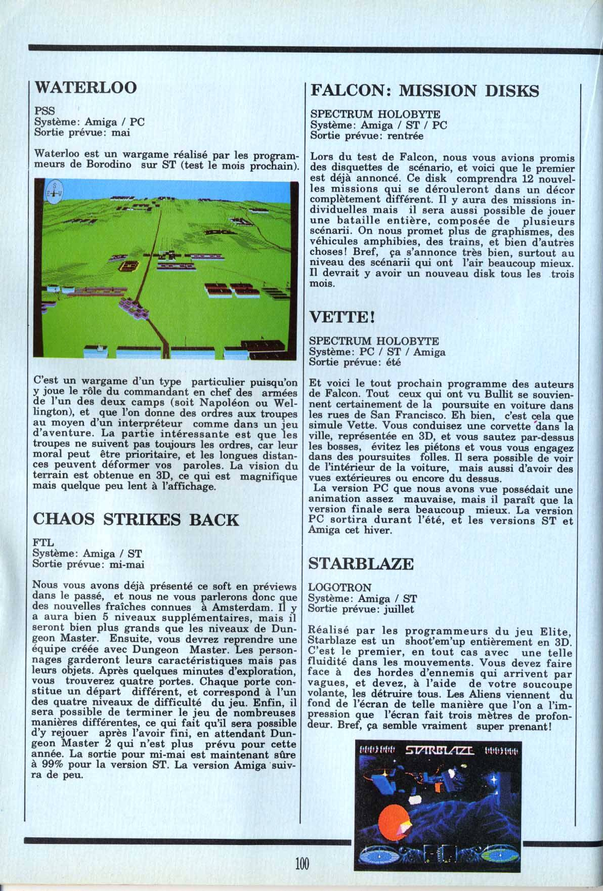 Chaos Strikes Back for Atari ST / Amiga Preview published in French magazine 'Gen4', Issue #11, May 1989, Page 100