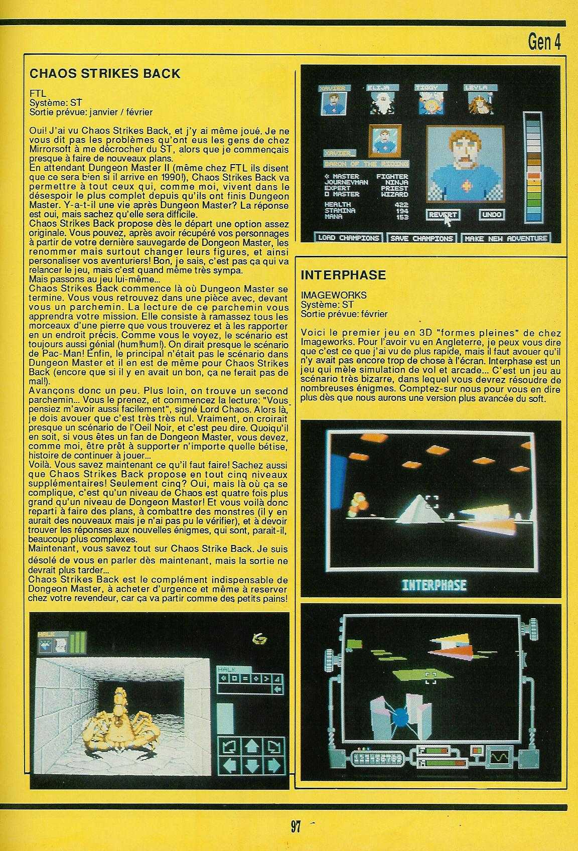 Chaos Strikes Back for Atari ST Preview published in French magazine 'Gen4', Issue #8, January 1989, Page 97