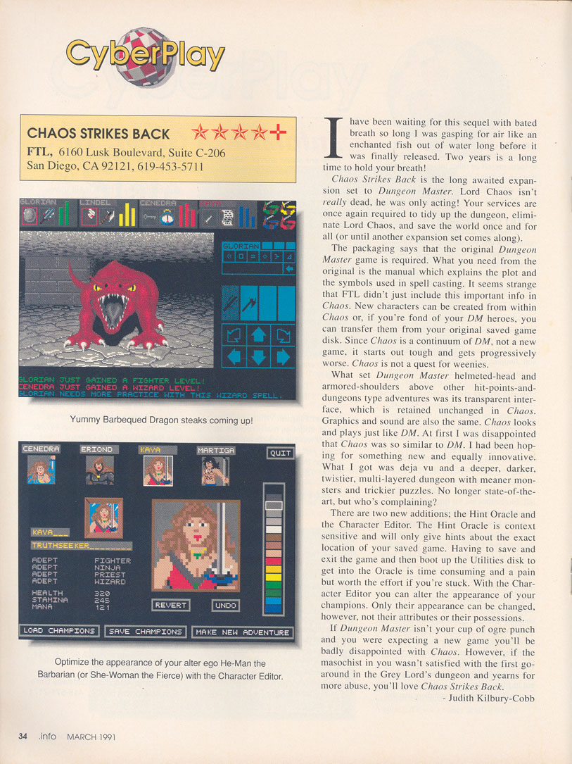 Chaos Strikes Back for Amiga Review published in American magazine '.Info', Issue #37, March 1991, Page 34