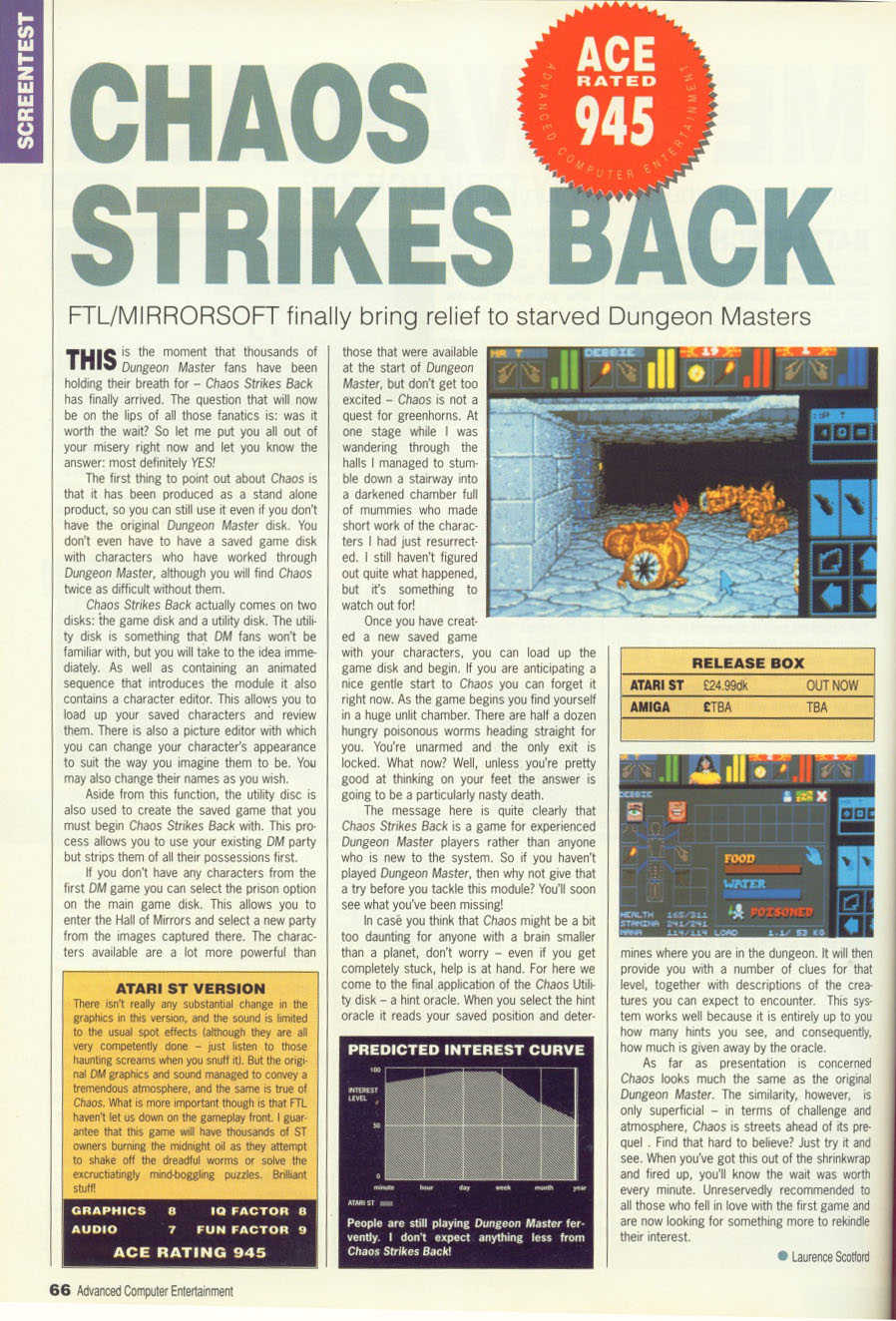 Chaos Strikes Back Review published in British magazine 'Advanced Computer Entertainment (ACE)', Issue #29, February 1990, Pages 66