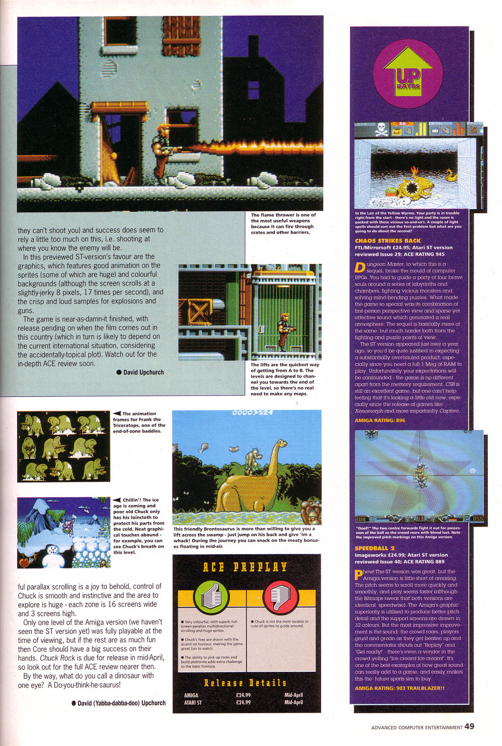Chaos Strikes Back for Amiga Review published in British magazine 'Advanced Computer Entertainment (ACE)', Issue #43, April 1991, Page 49