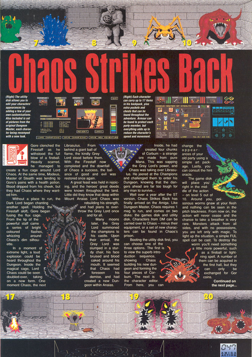 Chaos Strikes Back for Amiga Review published in British magazine 'Amiga Action', Issue #19, April 1991, Page 48