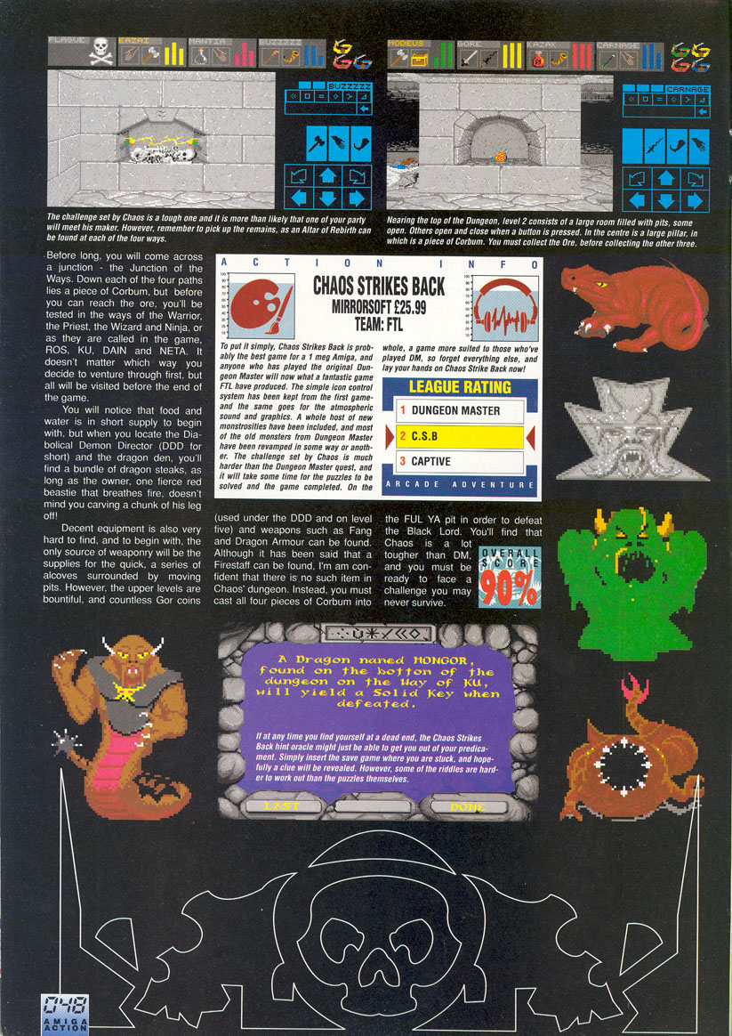 Chaos Strikes Back for Amiga Review published in British magazine 'Amiga Action', Issue #19, April 1991, Page 46