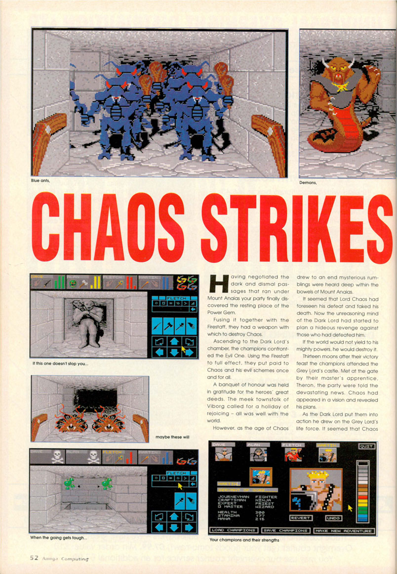 Chaos Strikes Back for Amiga Review published in British / American magazine 'Amiga Computing', Issue #35, April 1991, Page 52