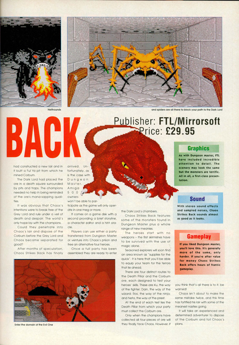 Chaos Strikes Back for Amiga Review published in British / American magazine 'Amiga Computing', Issue #35, April 1991, Page 53