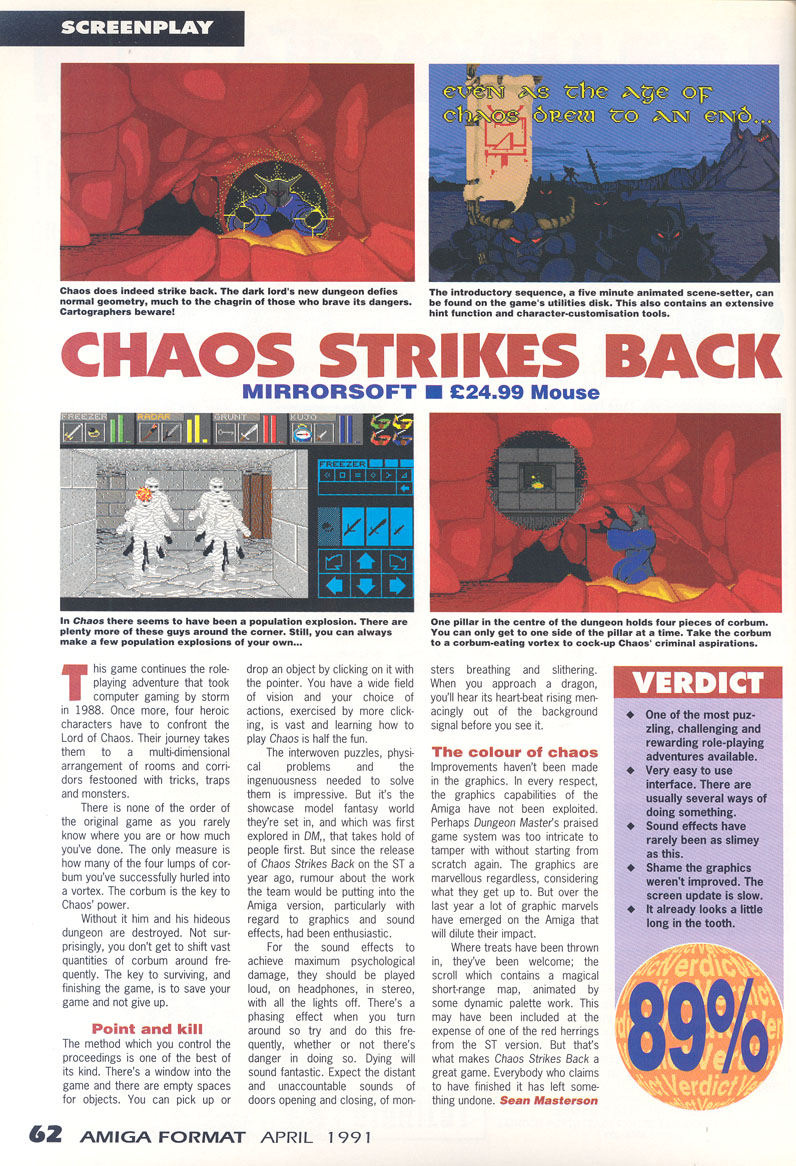 Chaos Strikes Back for Amiga Review published in British magazine 'Amiga Format', Issue #21, April 1991, Page 62
