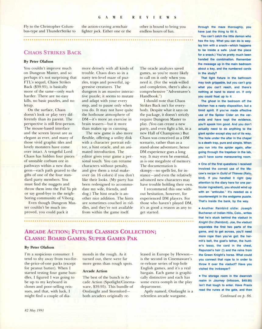 Chaos Strikes Back for Amiga Review published in American magazine 'Amiga World', May 1991, Page 82