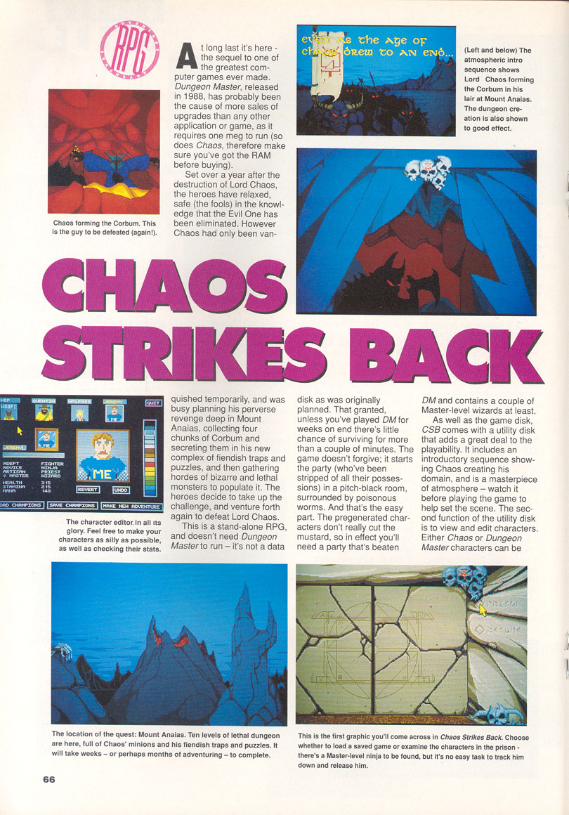 Chaos Strikes Back for Amiga Review published in British magazine 'CU Amiga', February 1991, Page 66