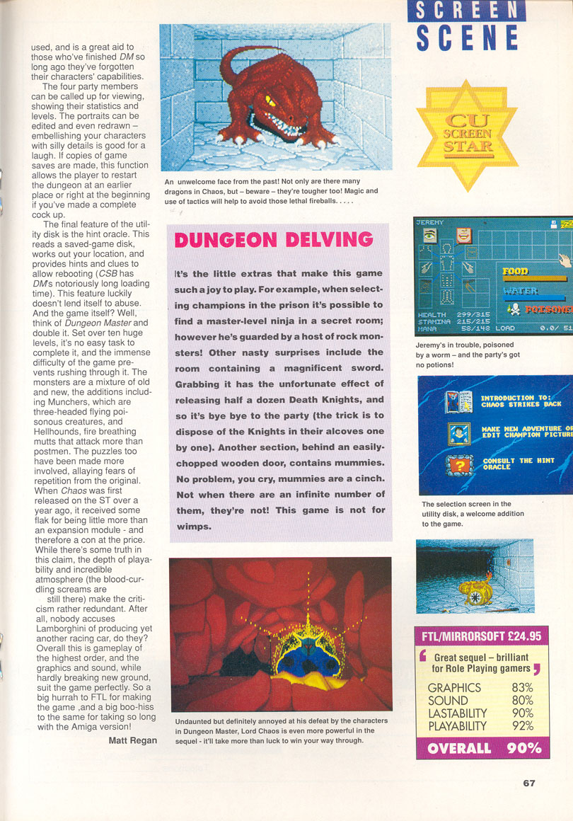 Chaos Strikes Back for Amiga Review published in British magazine 'CU Amiga', February 1991, Page 67