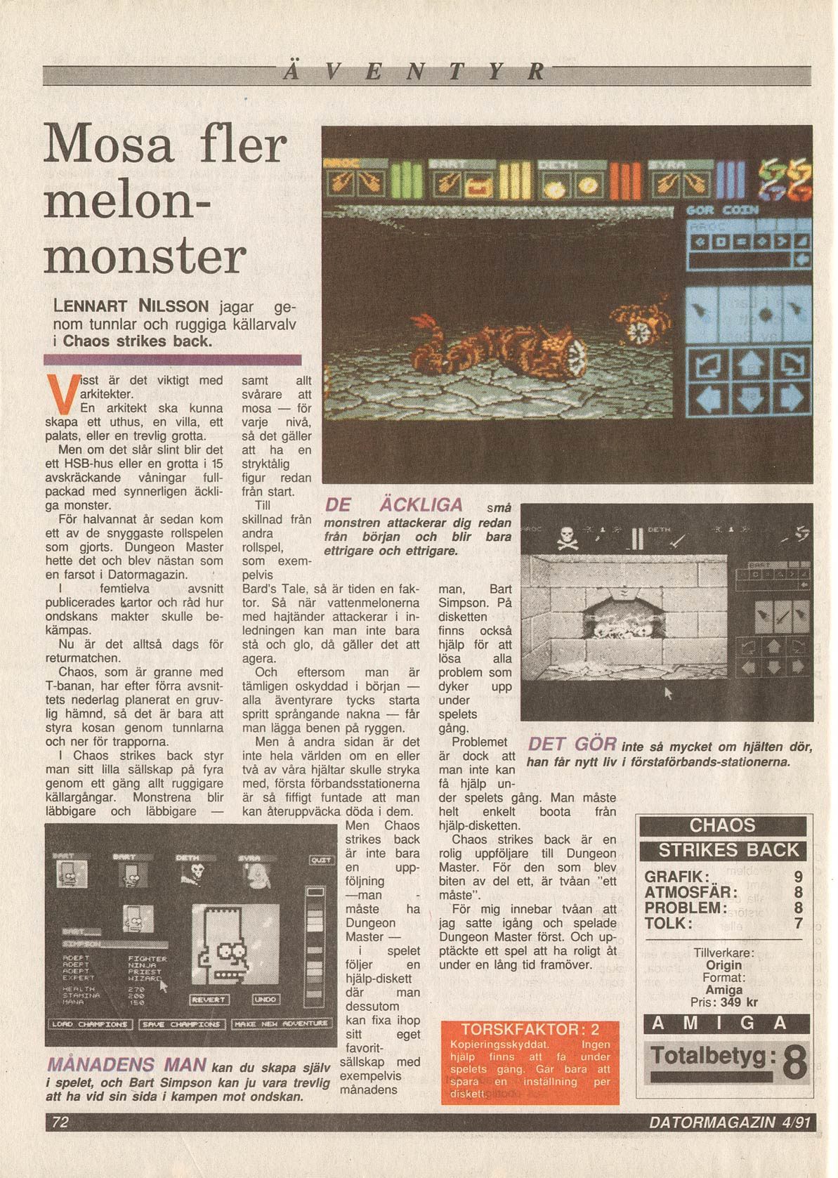 Chaos Strikes Back for Amiga Review published in Swedish magazine 'Datormagazin', February 1991, Page 72