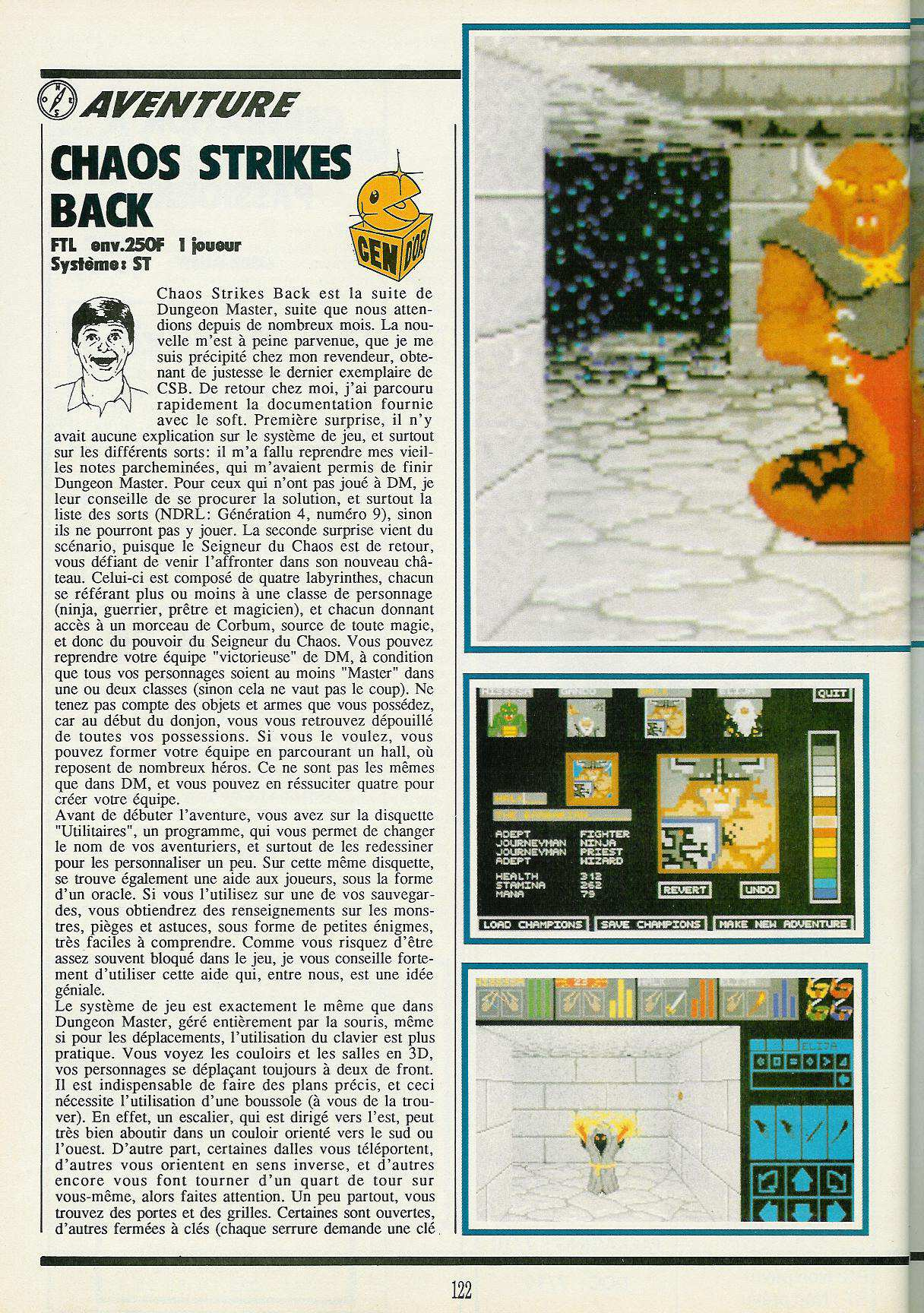 Chaos Strikes Back for Atari ST Review published in French magazine 'Gen4', Issue #19, February 1990, Pages 122