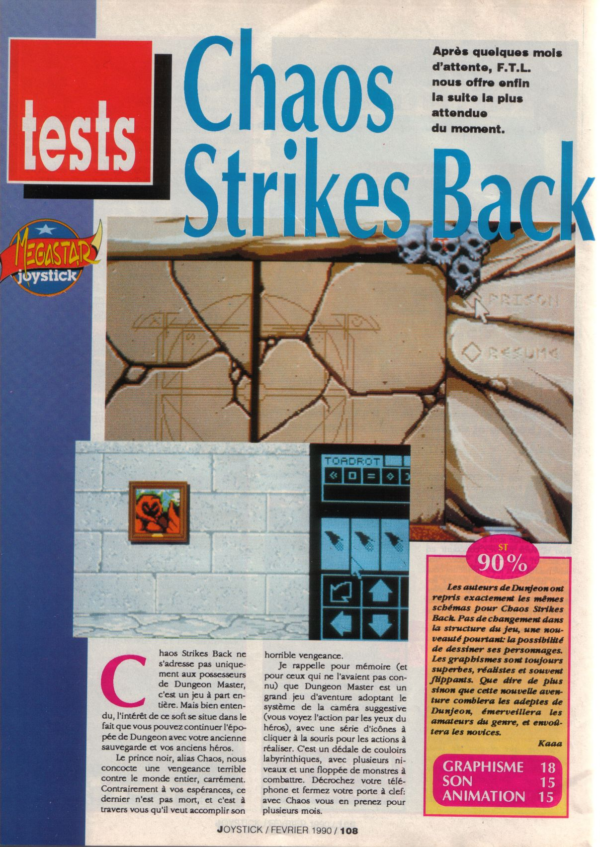 Chaos Strikes Back for Atari ST Review published in French magazine 'Joystick', Issue #2, February 1990, Page 108