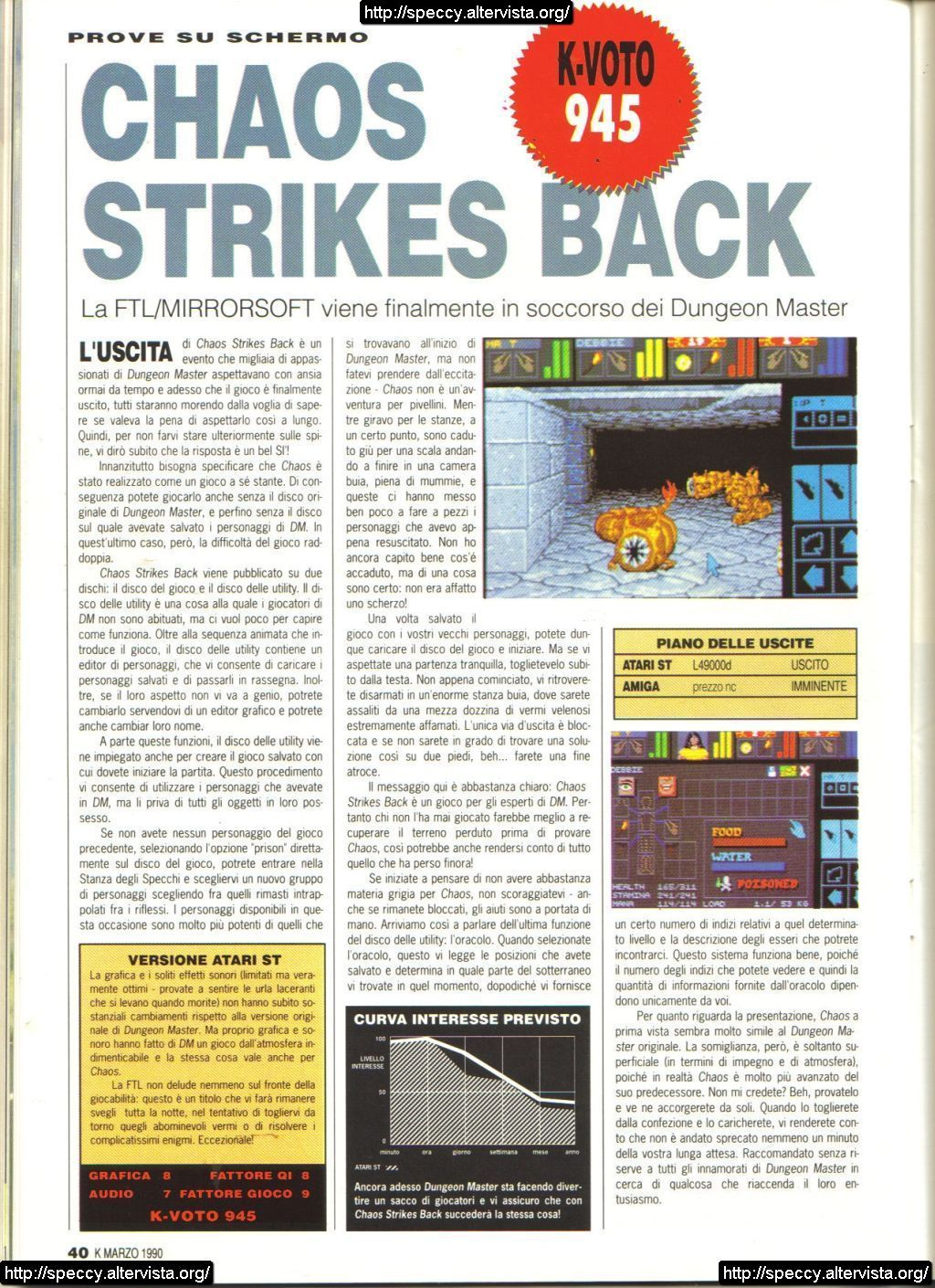 Chaos Strikes Back for Atari ST Review published in Italian magazine 'K', Issue #15, March 1990, Page 42