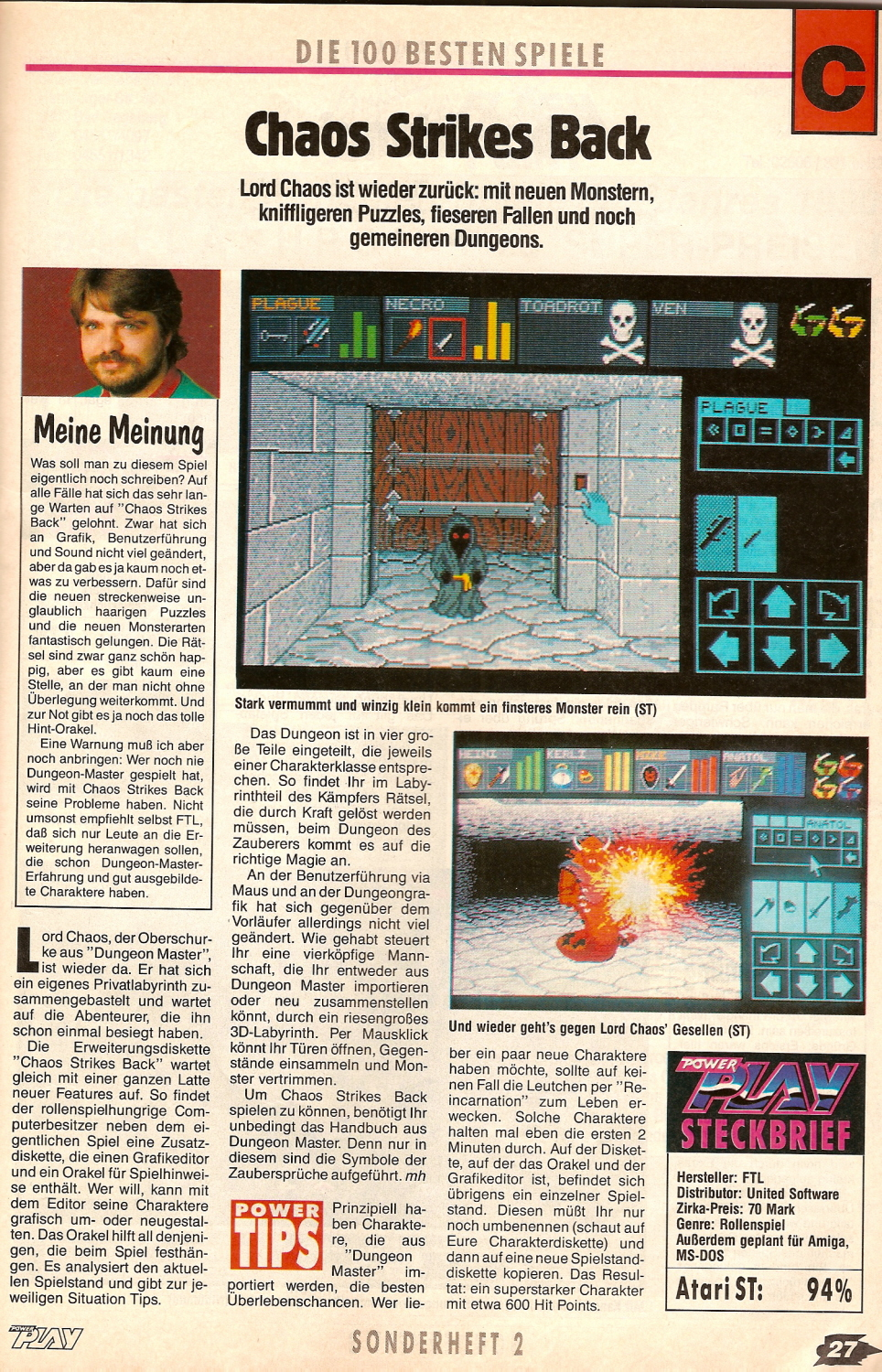Chaos Strikes Back for Atari ST Review published in German magazine 'PowerPlay', The Top 100 Games of 1990, Page 27