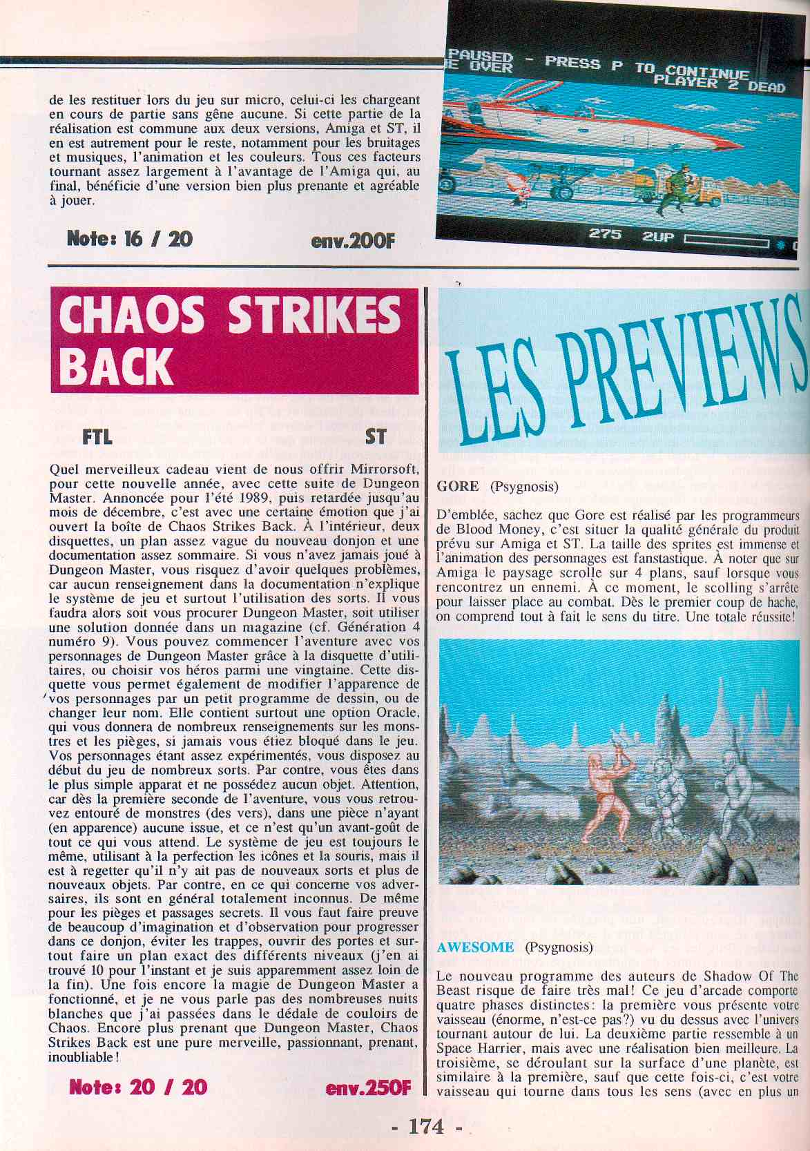 Chaos Strikes Back for Atari ST Review published in French magazine 'STMag', Issue #37, February 1990, Page 174