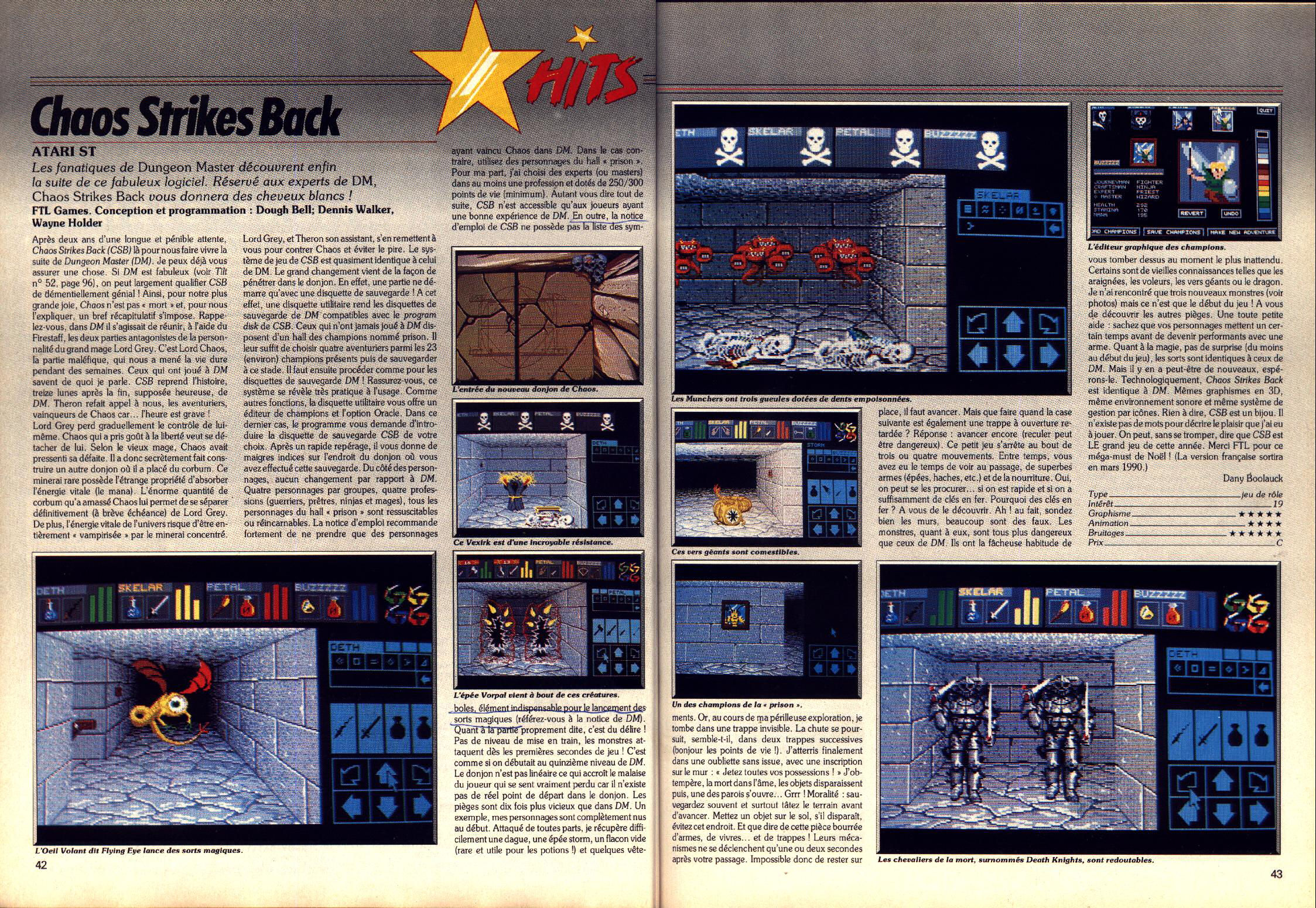 Chaos Strikes Back for Atari ST Review published in French magazine 'Tilt', Issue #74, January 1990, Pages 42-43