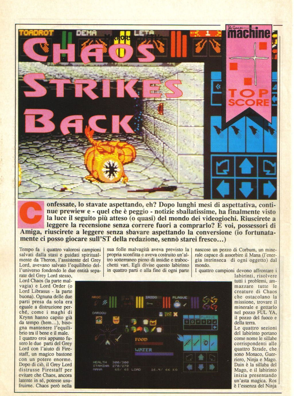 Chaos Strikes Back for Atari ST Review published in Italian magazine 'The Game Machine', Issue #18, March 1990, Page 24