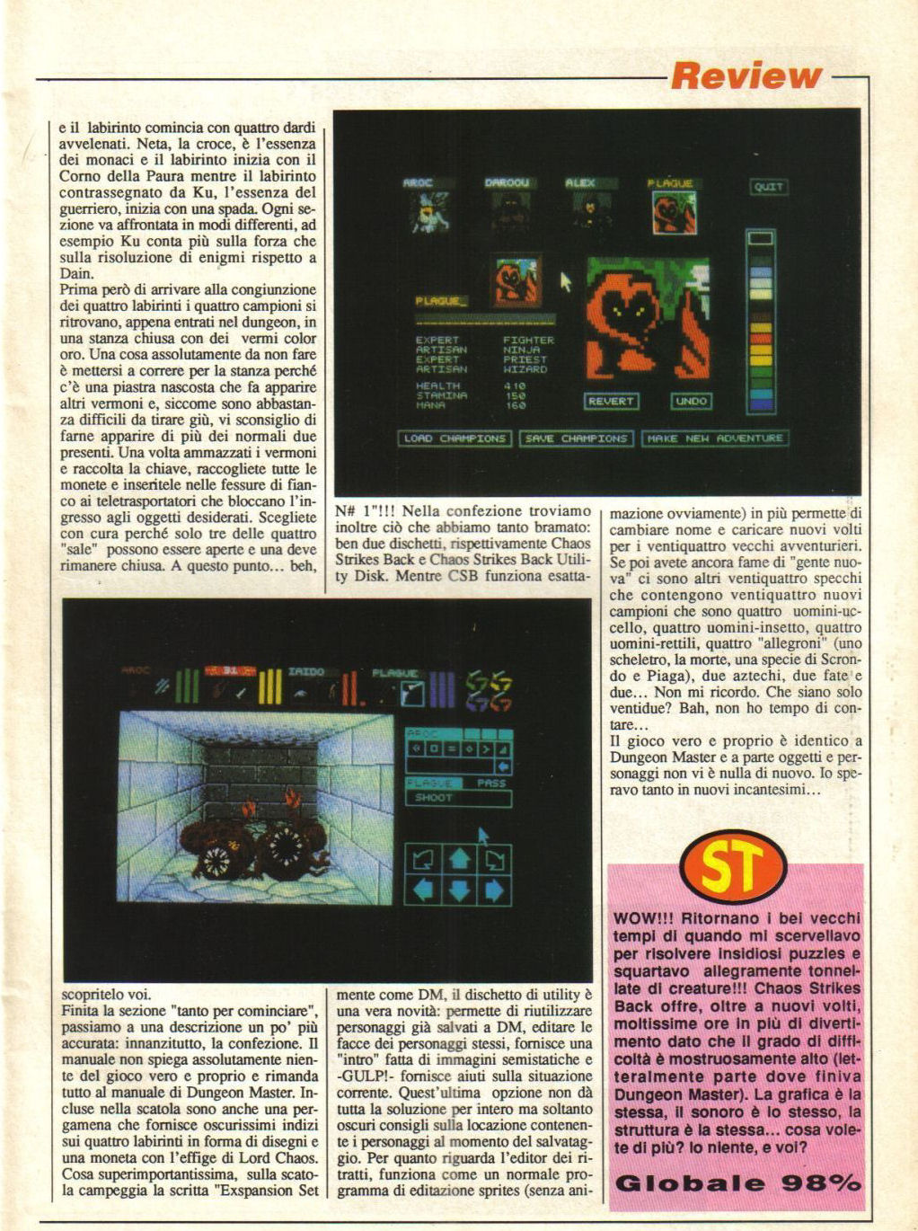 Chaos Strikes Back for Atari ST Review published in Italian magazine 'The Game Machine', Issue #18, March 1990, Page 25
