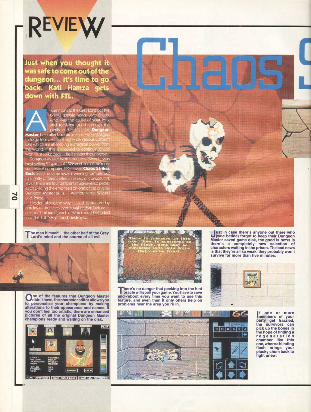 Chaos Strikes Back for Atari ST Review published in British magazine 'The One for 16-bits games', Issue #17, February 1990, Pages 70