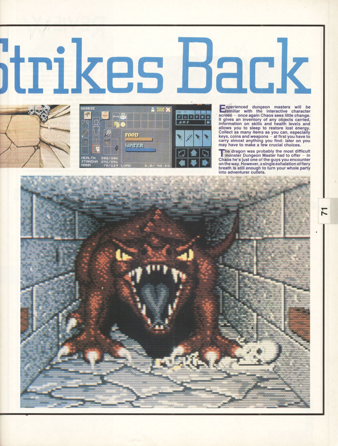 Chaos Strikes Back for Atari ST Review published in British magazine 'The One for 16-bits games', Issue #17, February 1990, Pages 71