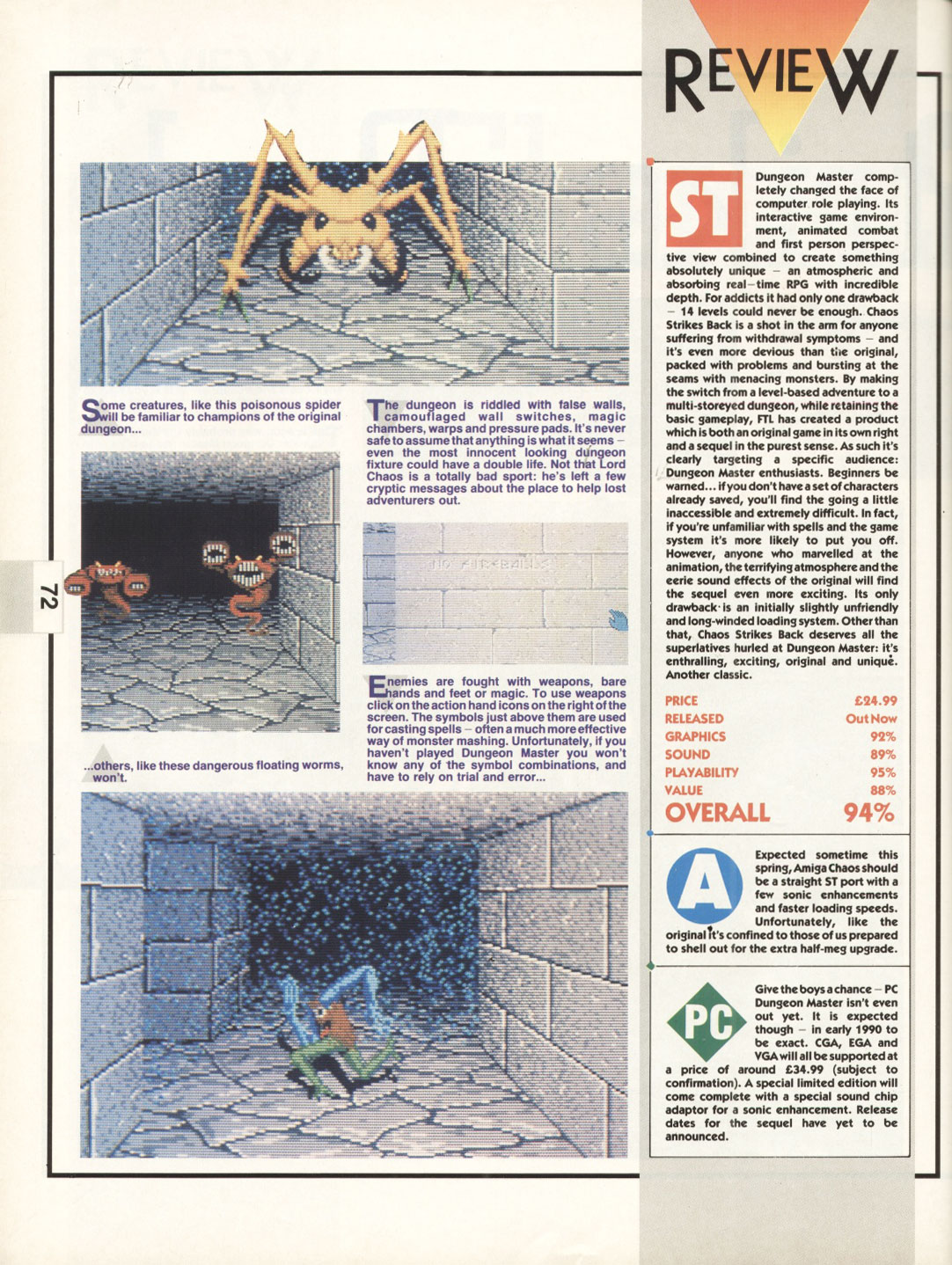 Chaos Strikes Back for Atari ST Review published in British magazine 'The One for 16-bits games', Issue #17, February 1990, Pages 72