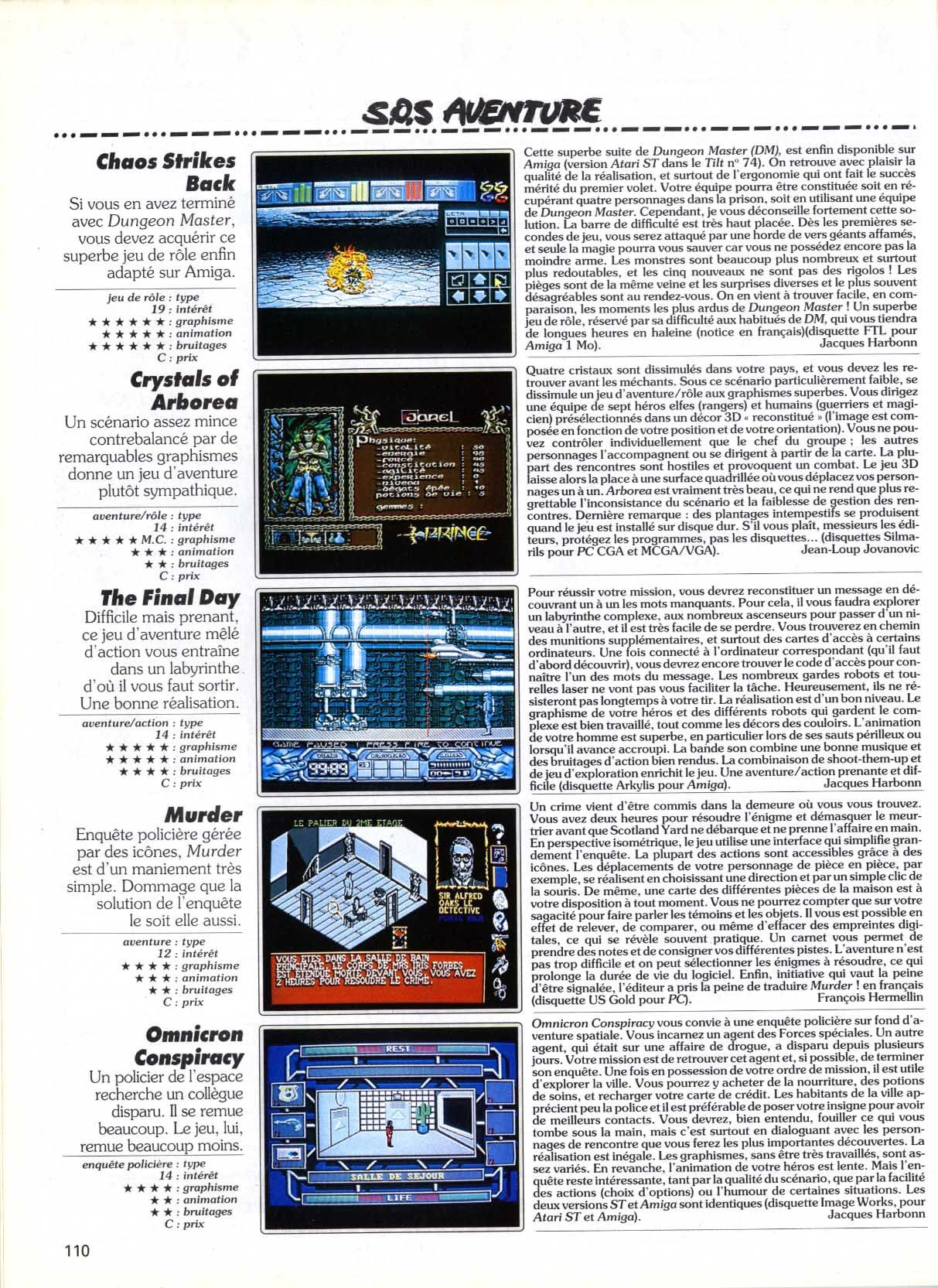 Chaos Strikes Back for Amiga Review published in French magazine 'Tilt', Issue #89, April 1991, Page 110