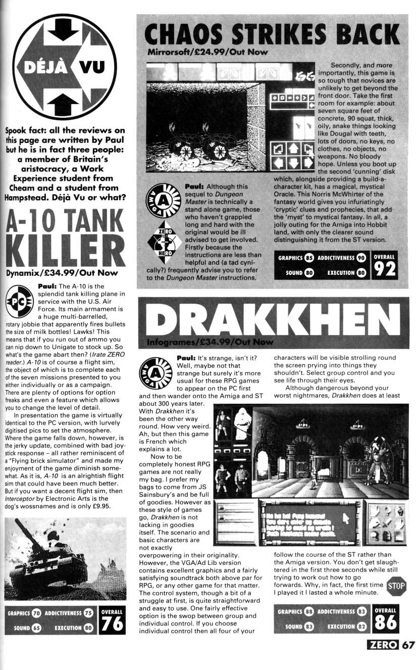 Chaos Strikes Back for Amiga Review published in British magazine 'Zero', Issue #18, April 1991, Page 67