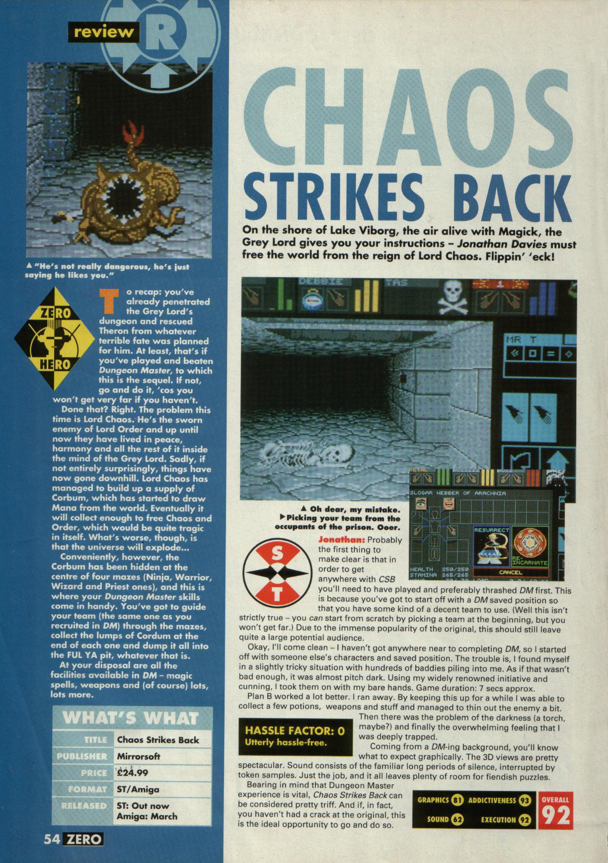 Chaos Strikes Back for Atari ST Review published in British magazine 'Zero', Issue #4, February 1990, Page 54
