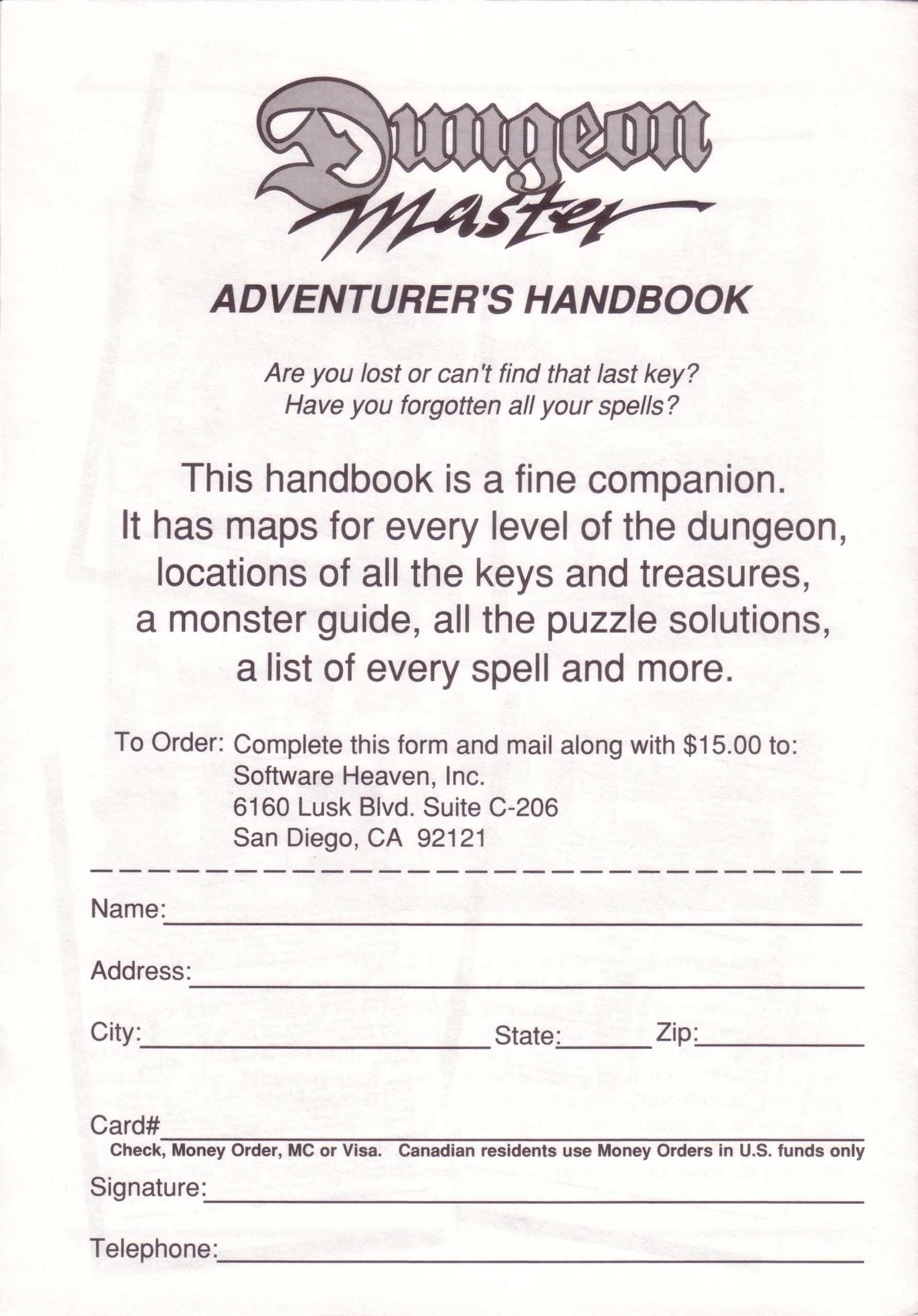 Dungeon Master for PC with FTL Sound Adapter (US Release) - Adventurer's Handbook Advertisement Page 4