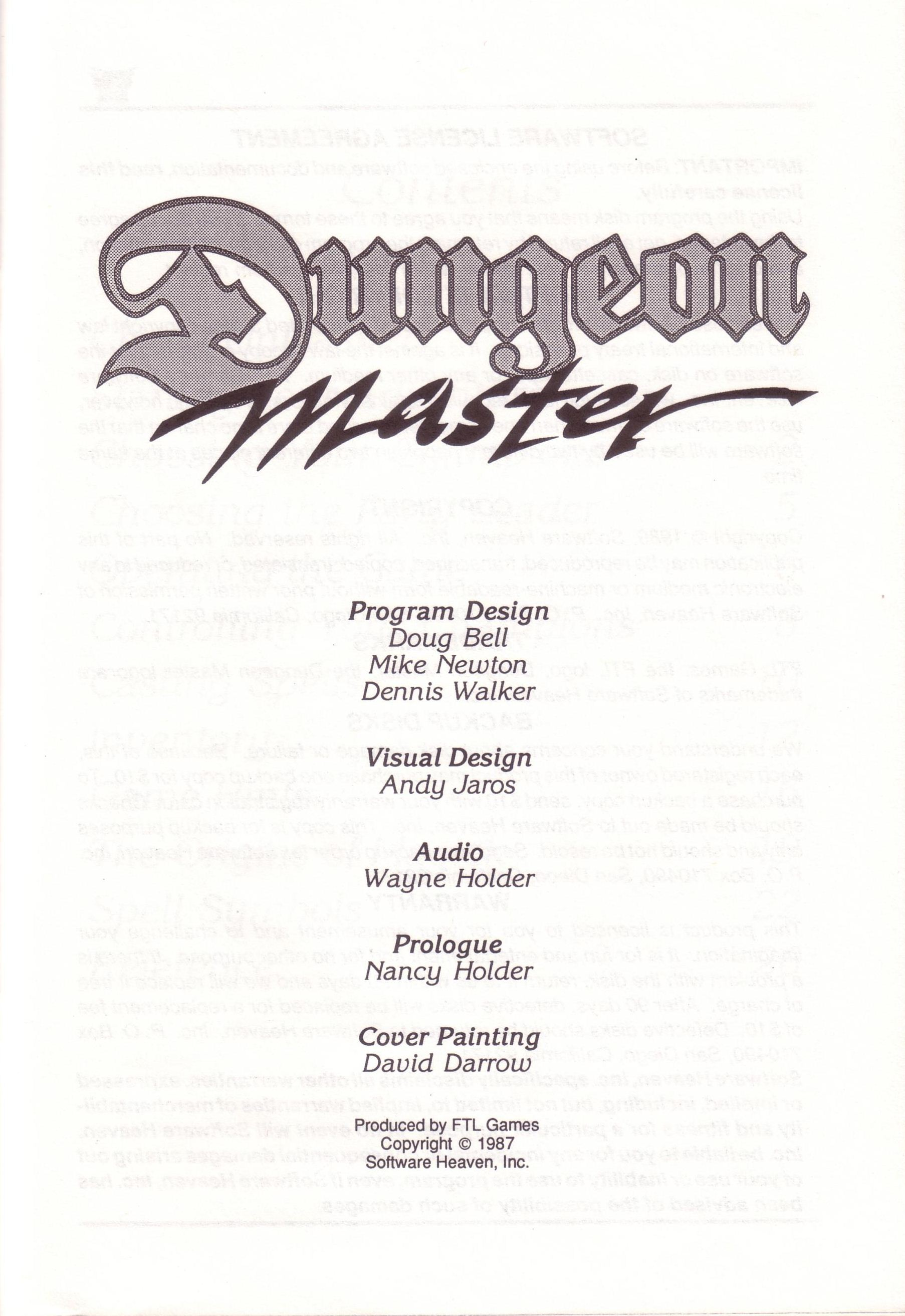 Dungeon Master for PC with FTL Sound Adapter (US Release) - Manual Page 03