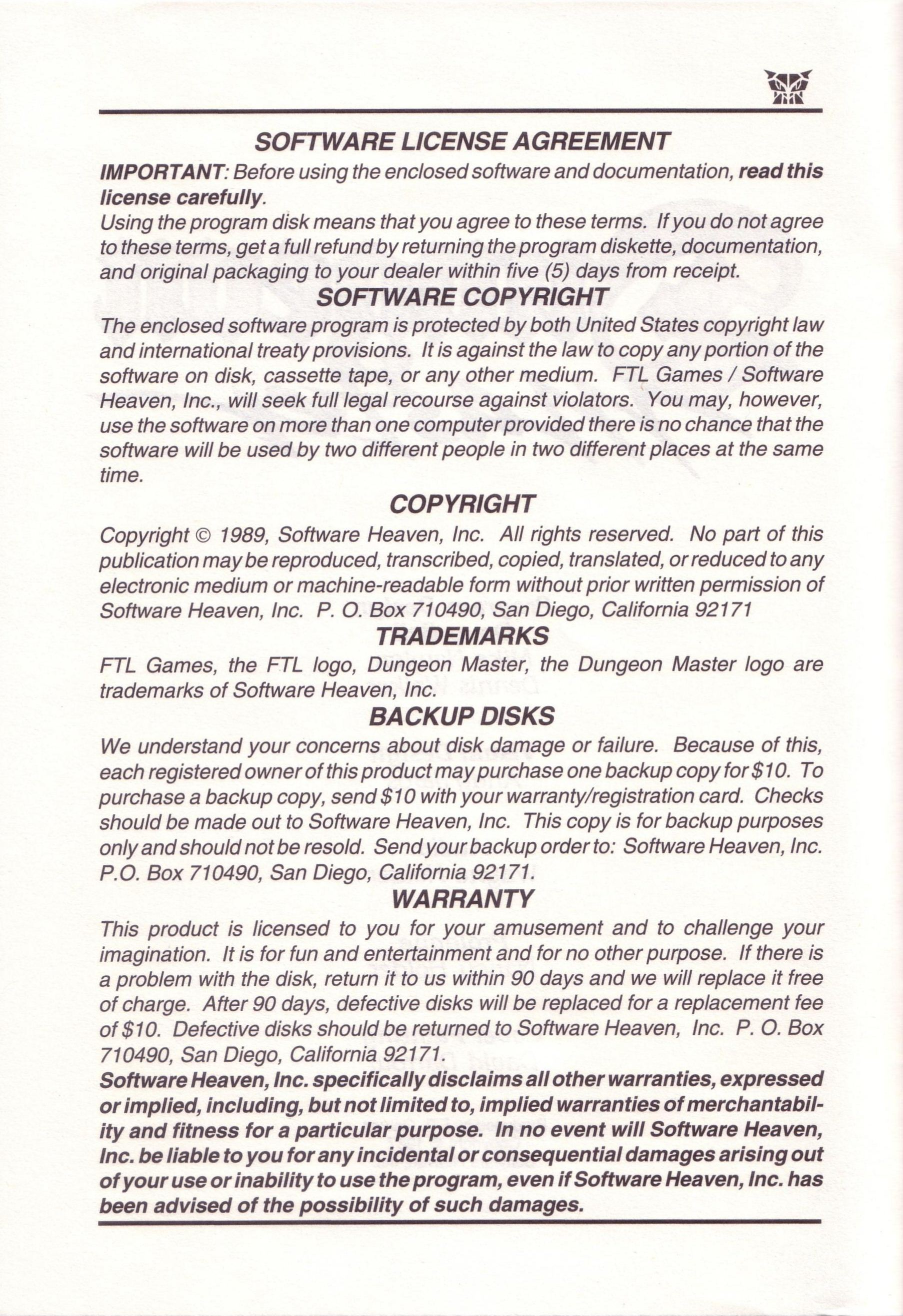 Dungeon Master for PC with FTL Sound Adapter (US Release) - Manual Page 04