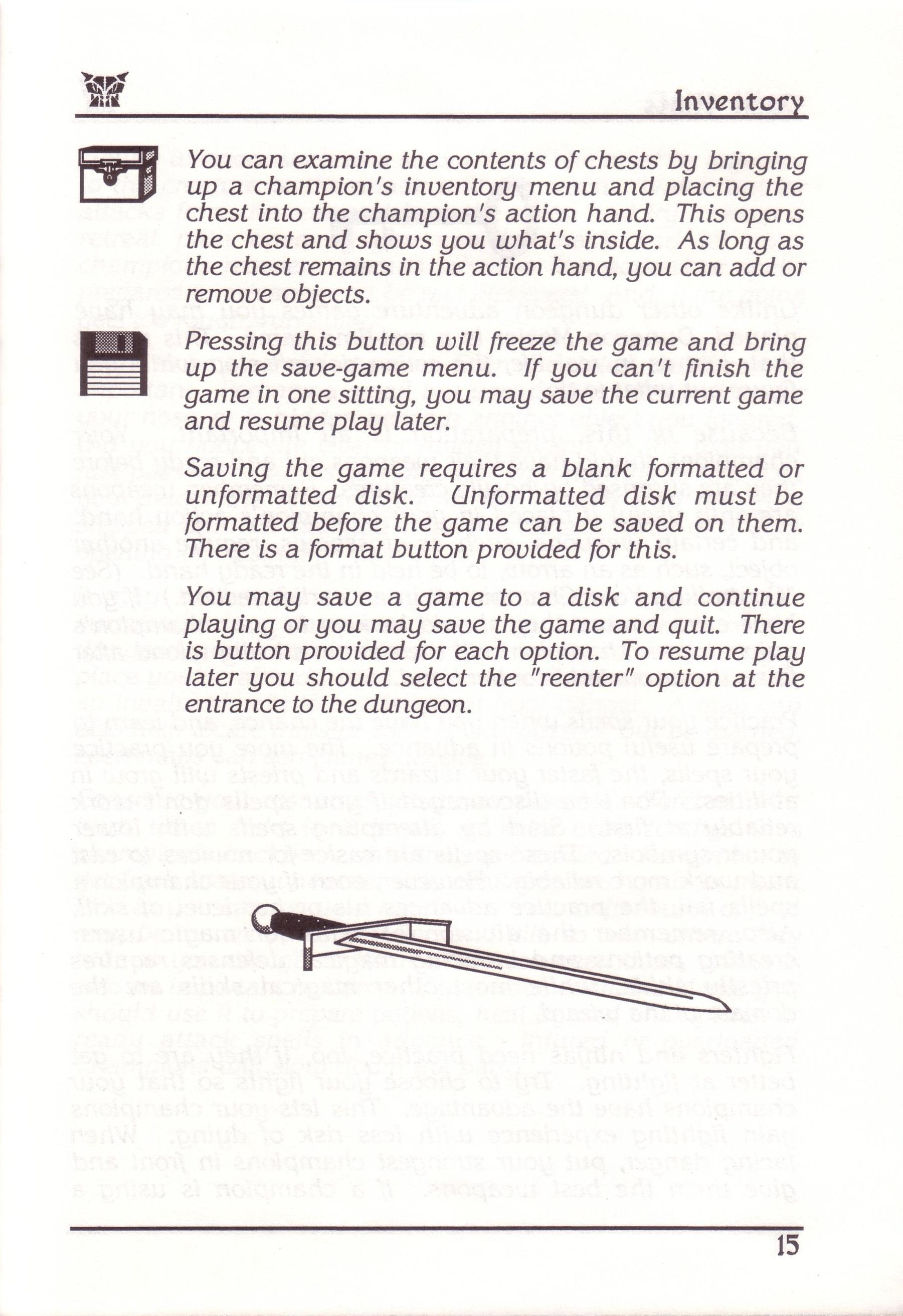 Dungeon Master for PC with FTL Sound Adapter (US Release) - Manual Page 39
