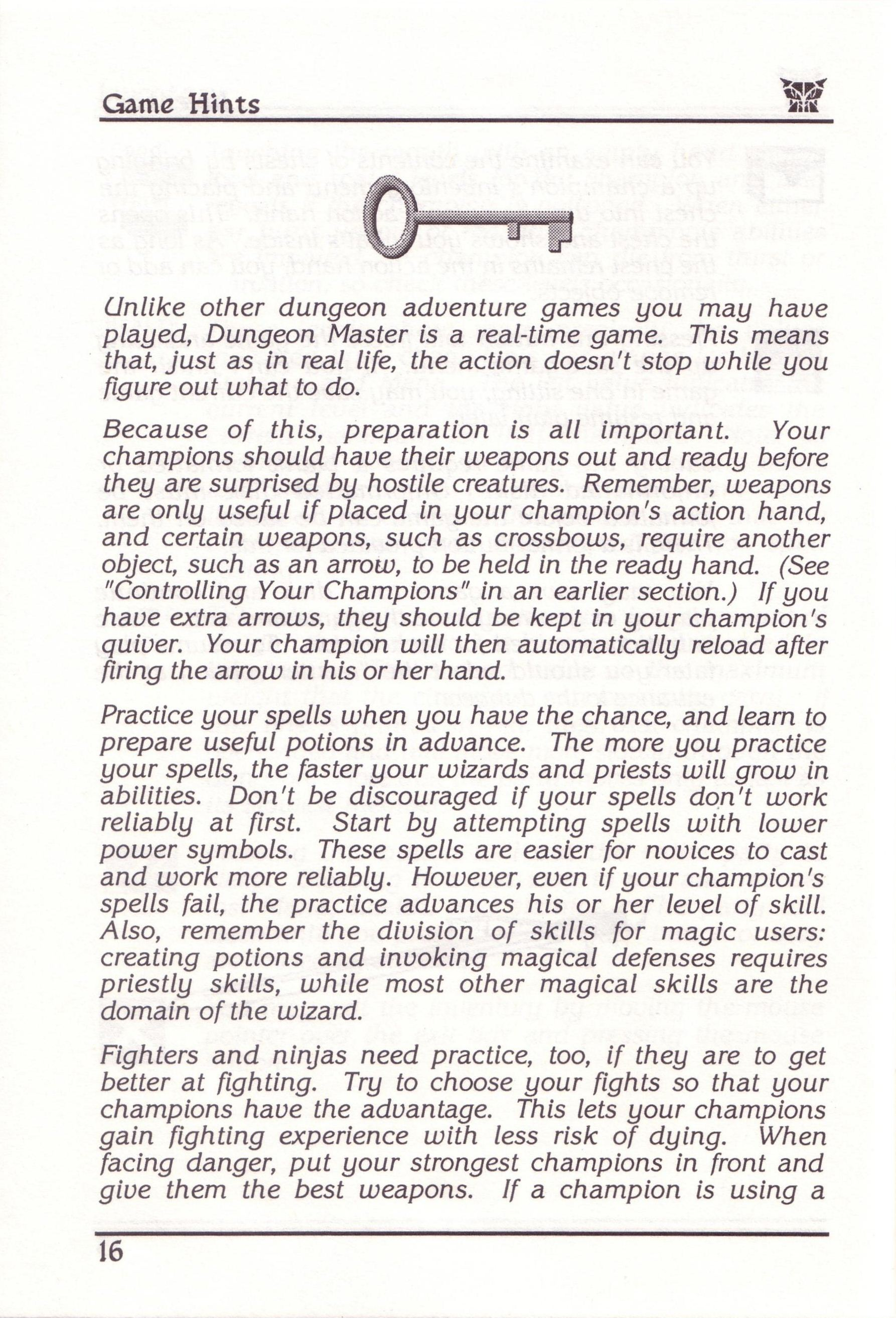 Dungeon Master for PC with FTL Sound Adapter (US Release) - Manual Page 40