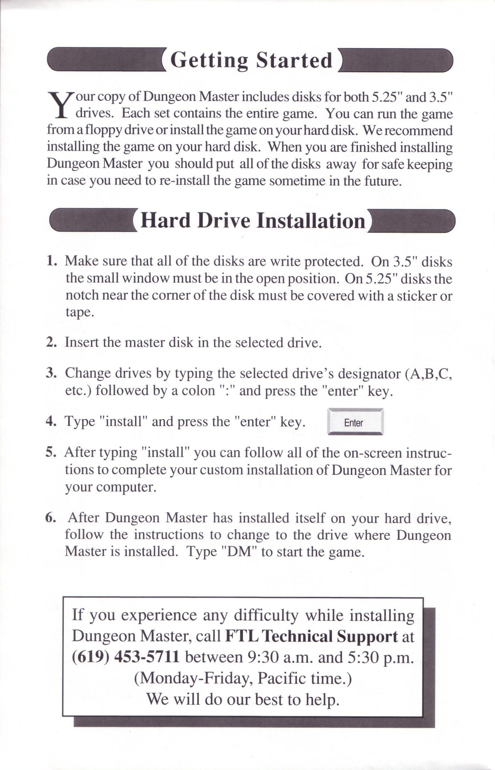 Dungeon Master for PC with FTL Sound Adapter (US Release) - Quick Start Guide Page 2