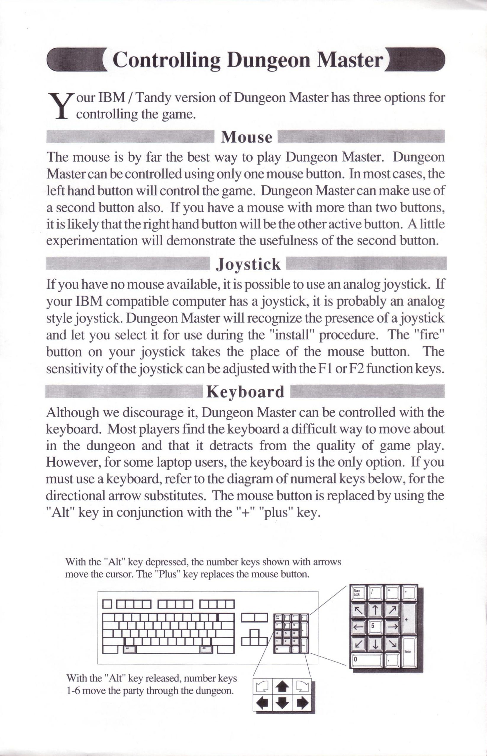 Dungeon Master for PC with FTL Sound Adapter (US Release) - Quick Start Guide Page 3