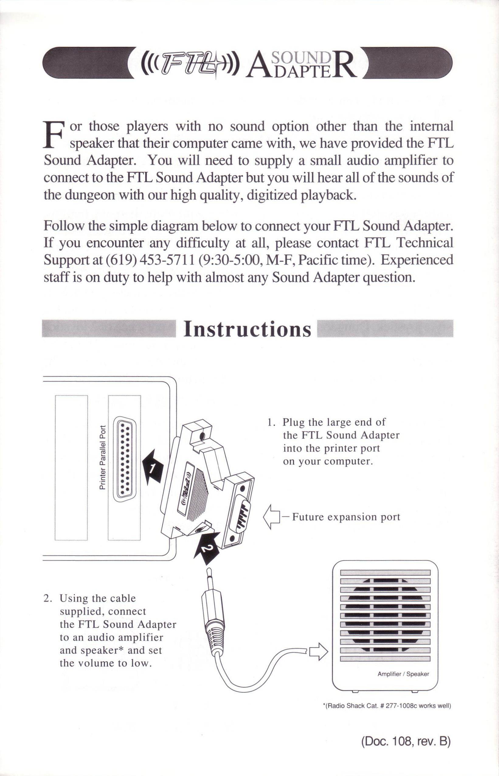Dungeon Master for PC with FTL Sound Adapter (US Release) - Quick Start Guide Page 4